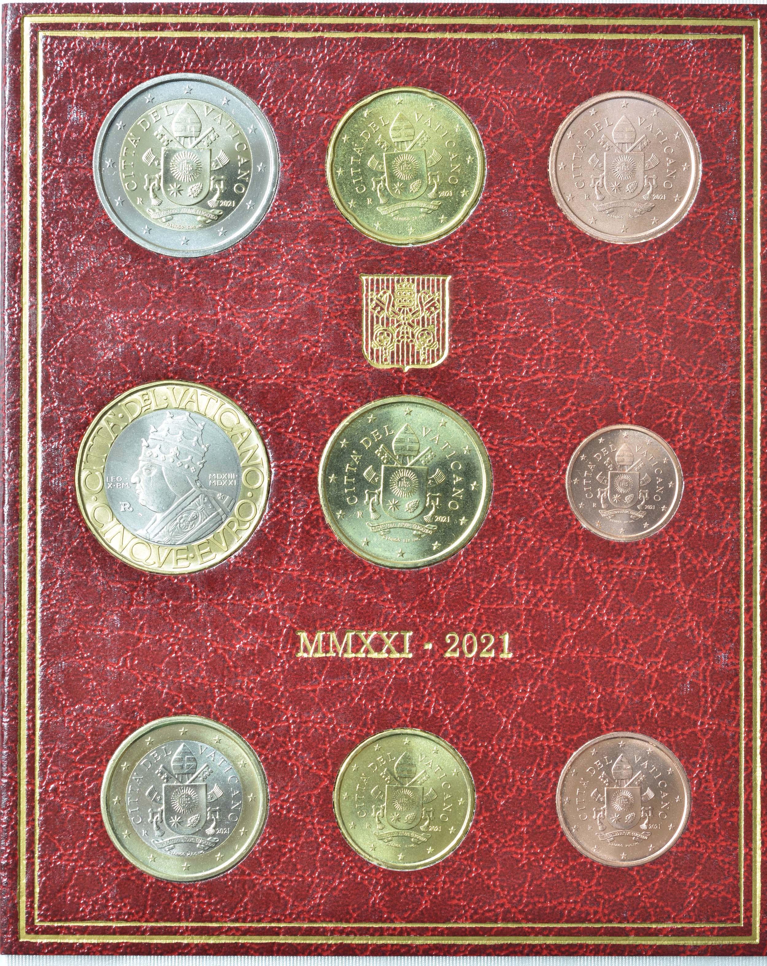 Rückseite:Vatikan : 8,88 Euro KMS Vatikan mit 5 Euro Papst Leo X.  2021 Stgl.