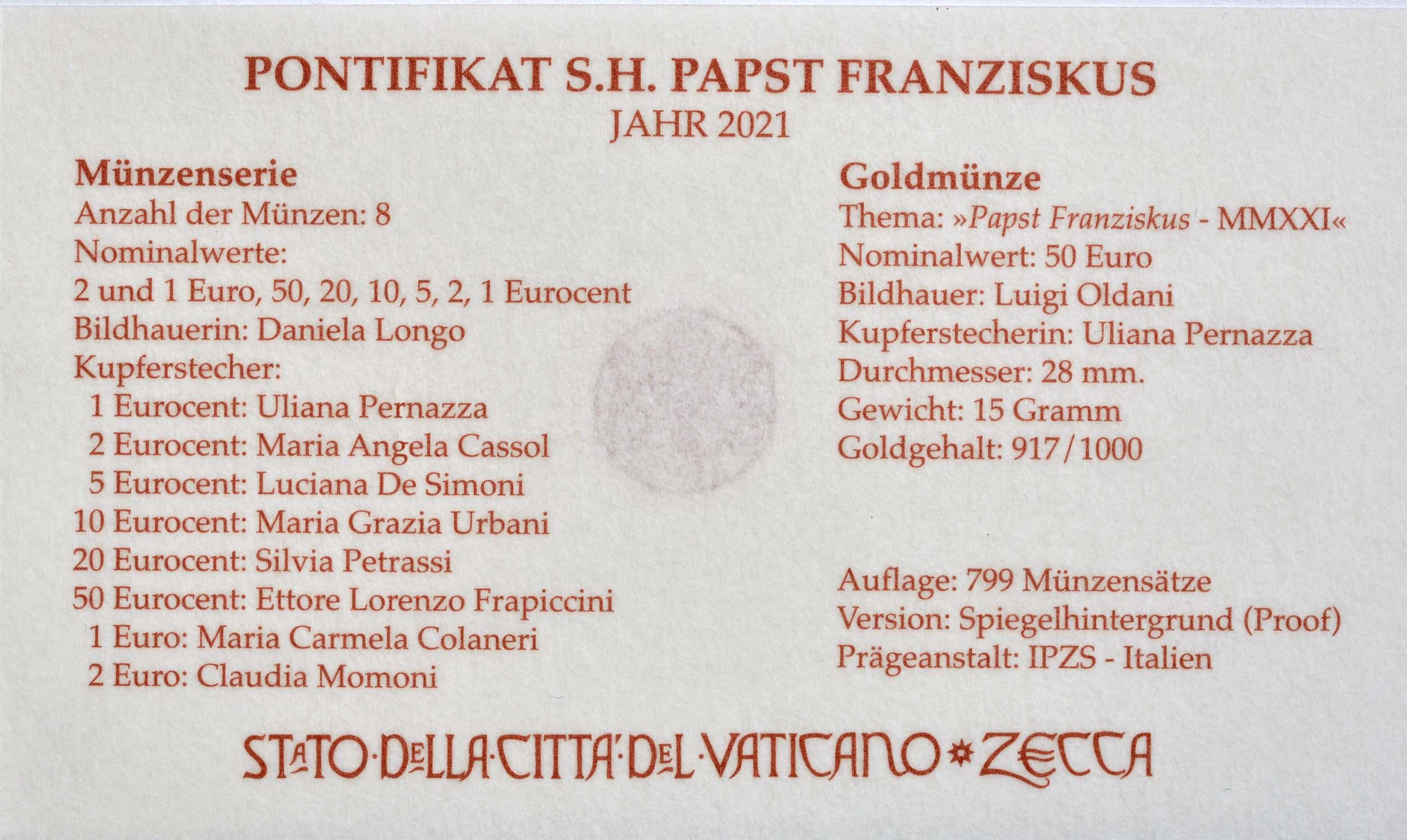 Zertifikat:Vatikan : 53,88 Euro KMS Vatikan mit 50 Euro Gedenkmünze  2021 PP