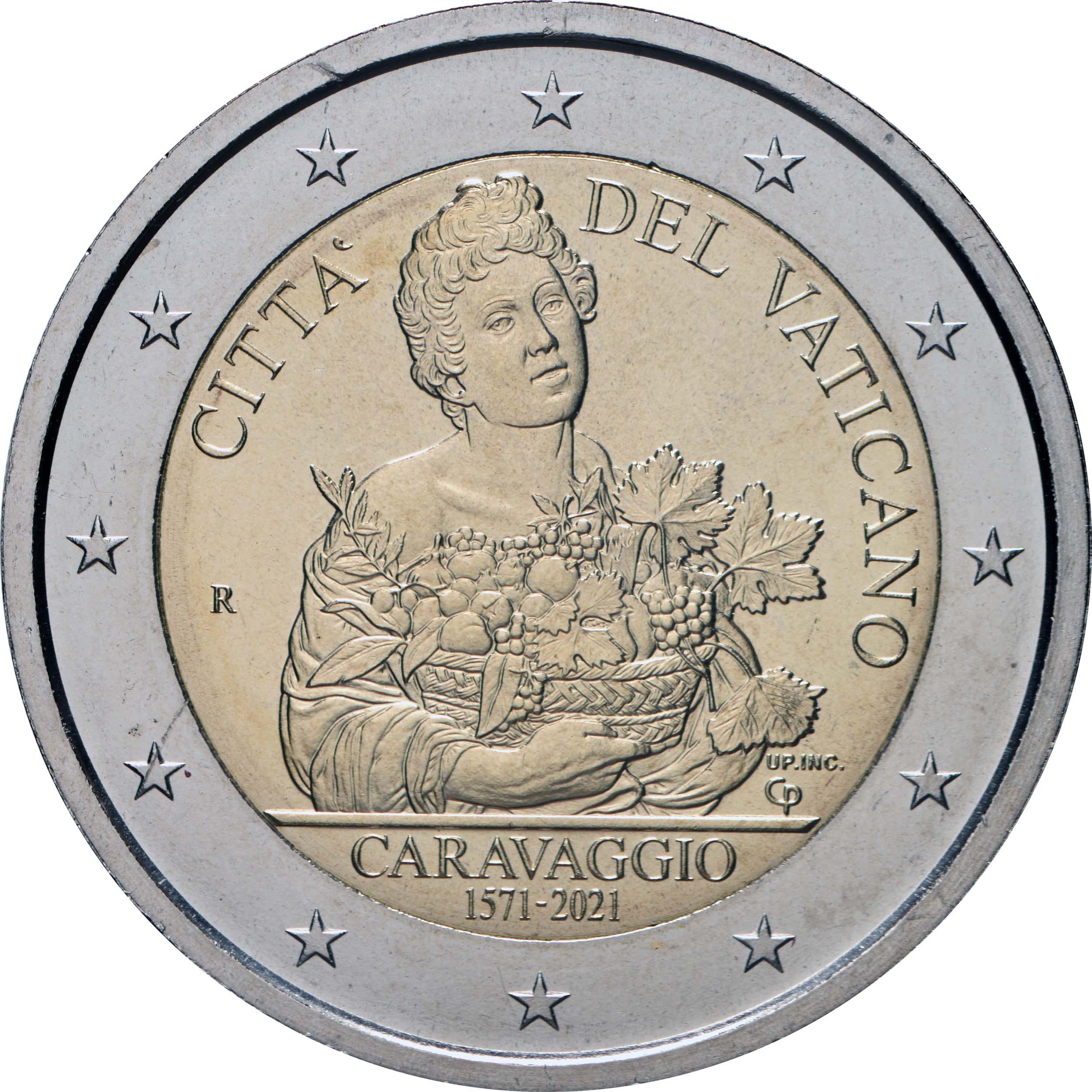 Rückseite:Vatikan : 2 Euro 450. Geburtstag von Caravaggio  2021 Stgl.