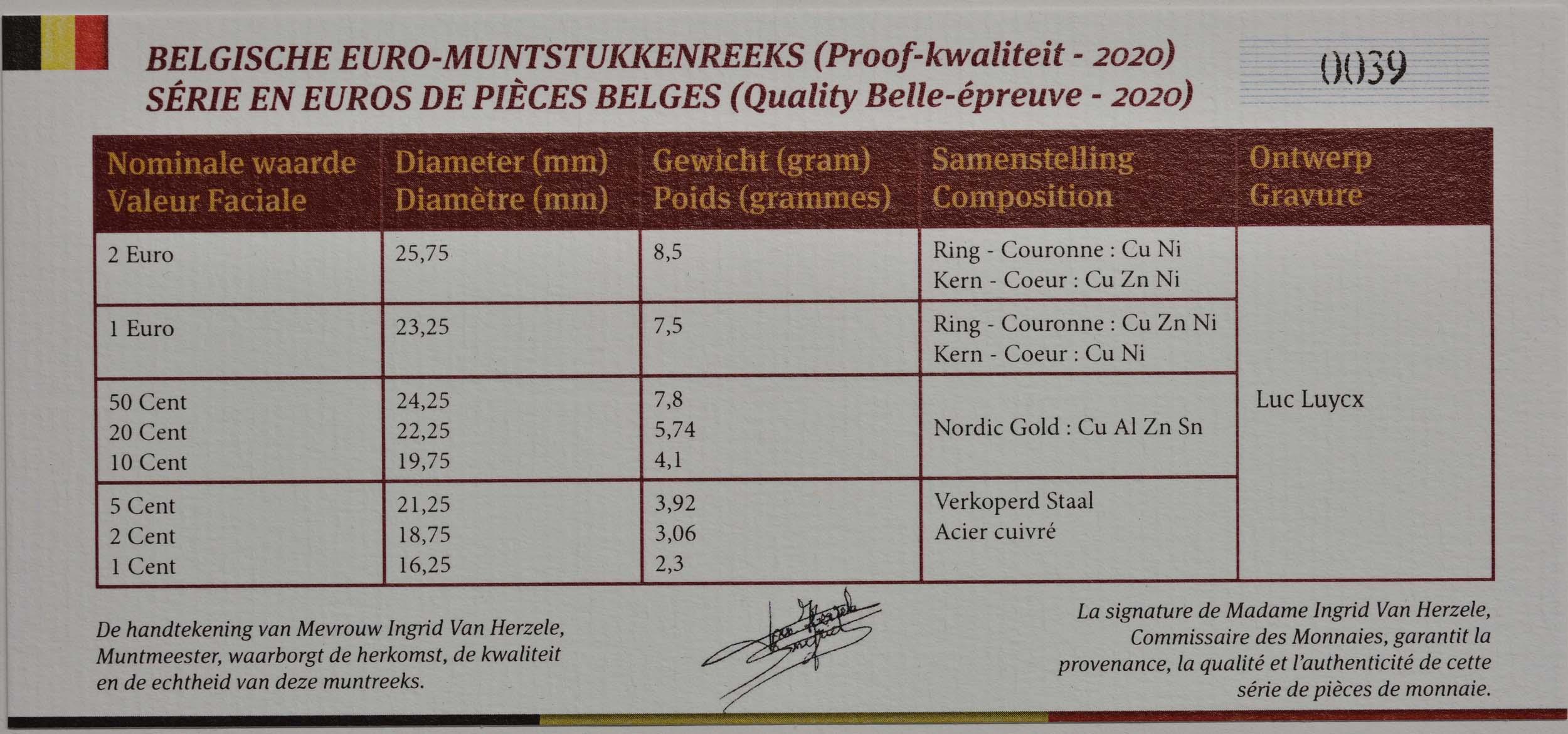 Zertifikat:Belgien : 3,88 Euro KMS Belgien  2020 PP