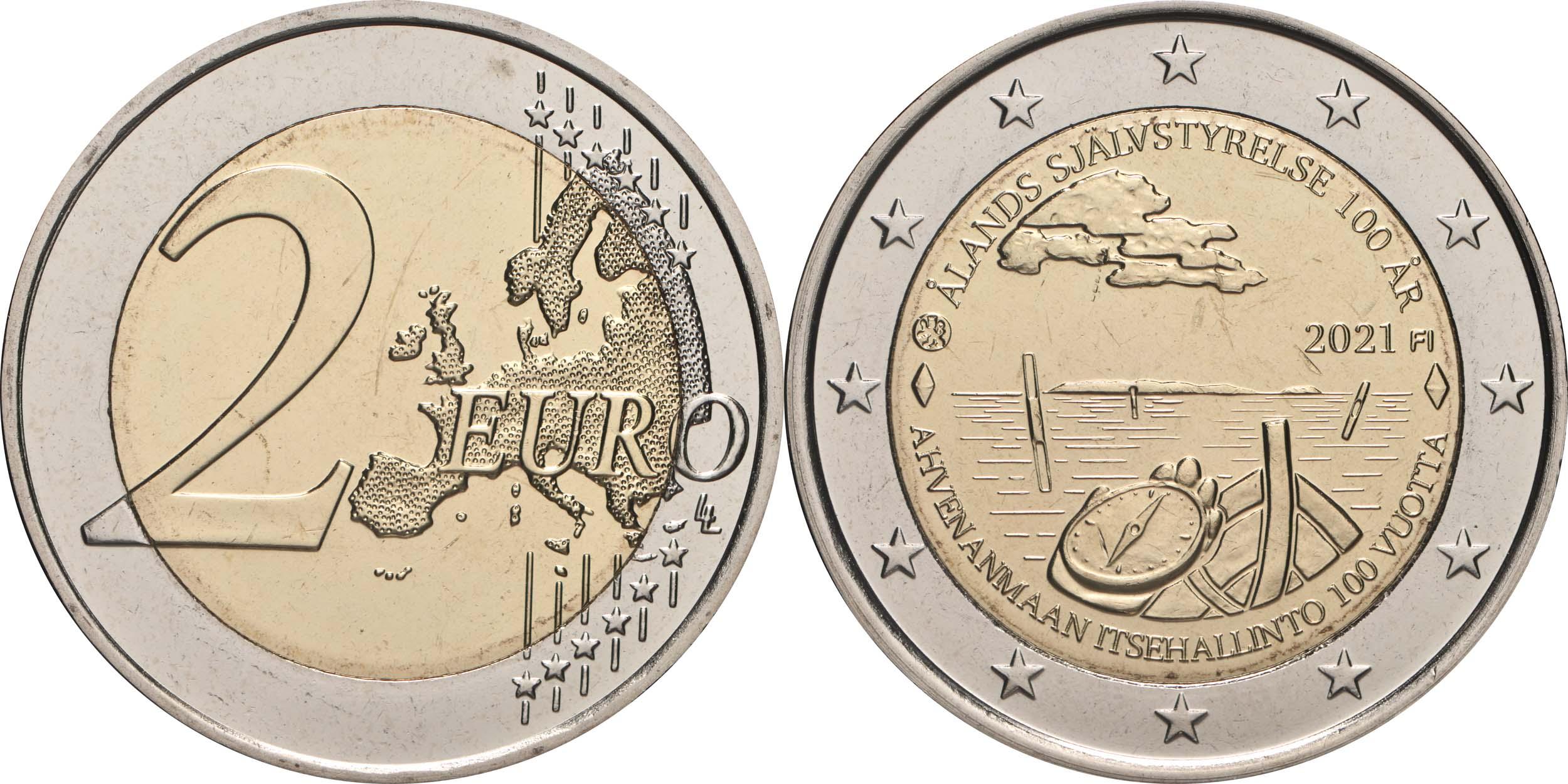 Lieferumfang:Finnland : 2 Euro 100. Jahrestag der Selbstverwaltung in der Region Aland  2021 bfr