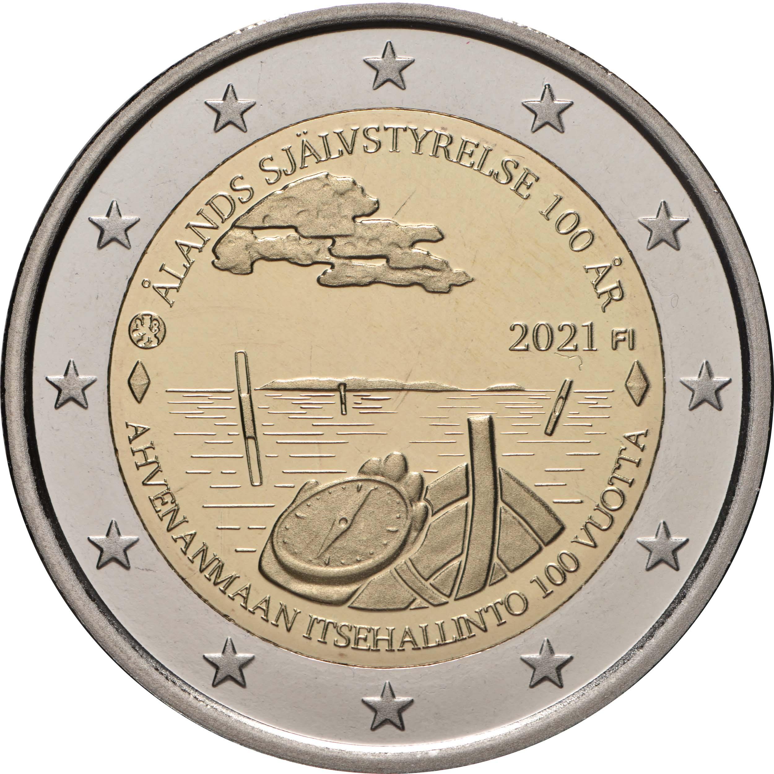 Rückseite:Finnland : 2 Euro 100. Jahrestag der Selbstverwaltung in der Region Aland  2021 PP