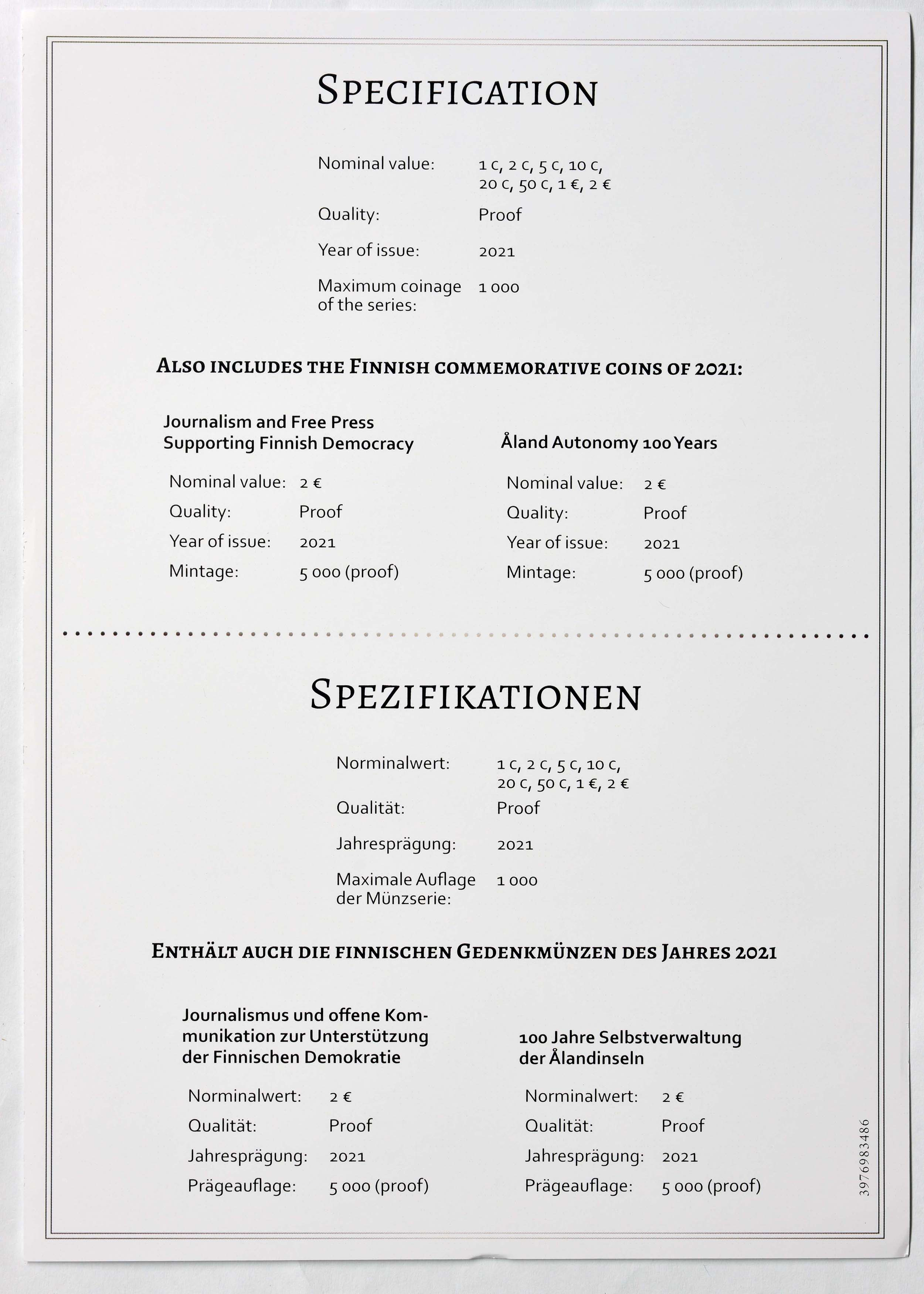 Zertifikat:Finnland : 7,88 Euro KMS Finnland inkl. 2 Euro Journalismus und Aland  2021 PP