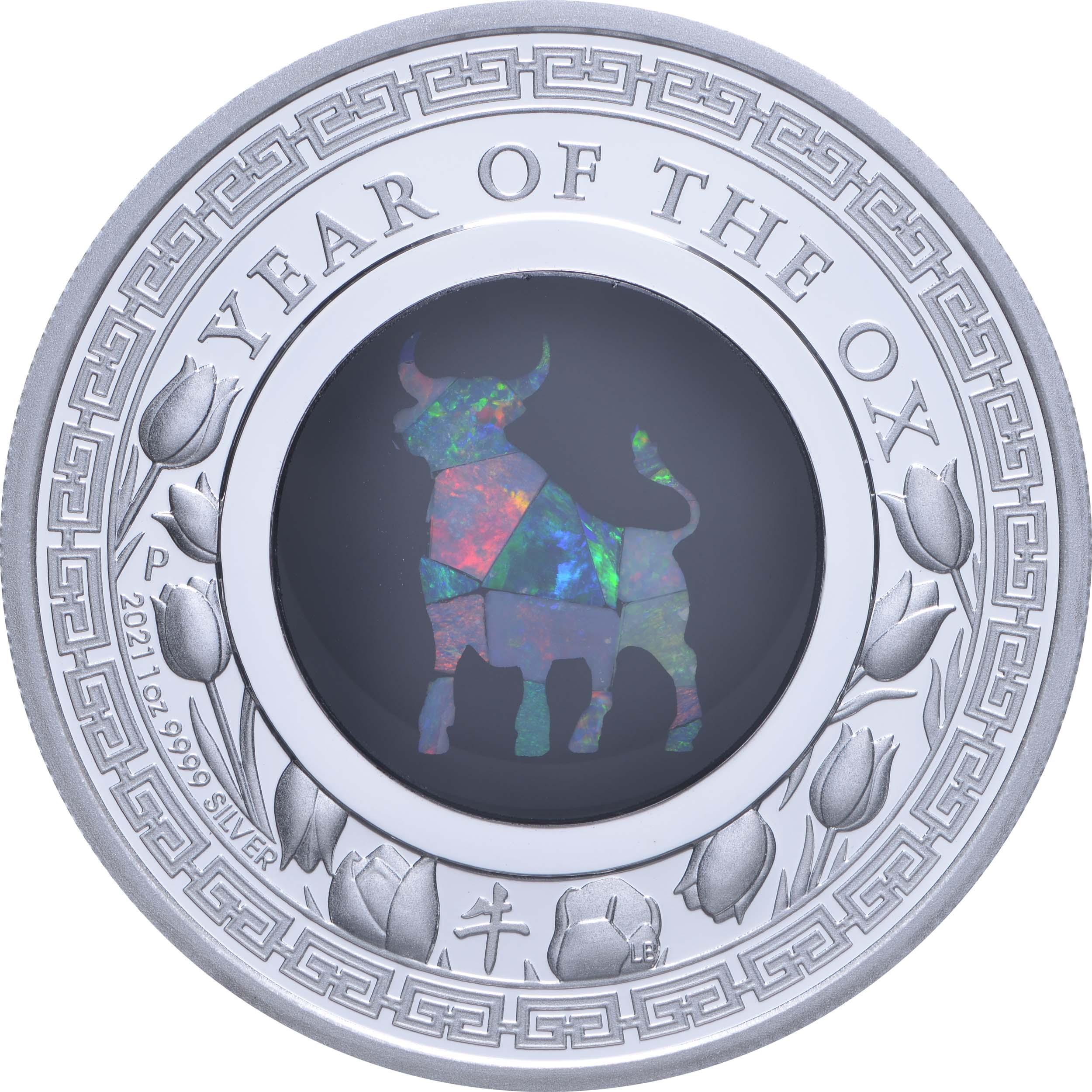 Vorderseite:Australien : 1 Dollar Jahr des Ochsen - Lunar Opalserie  2021 PP