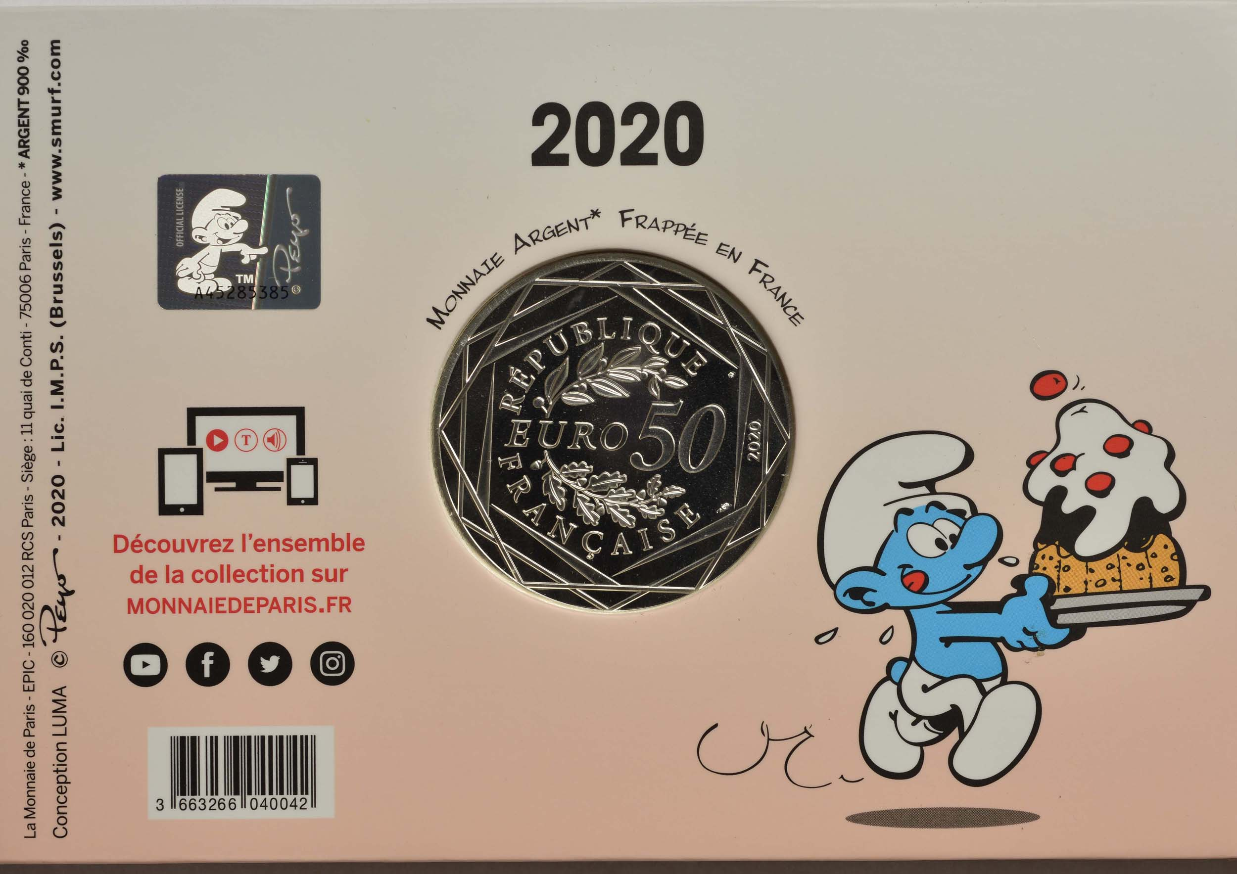 Rückseite:Frankreich : 50 Euro hungriger Schlumpf  2020 Stgl.