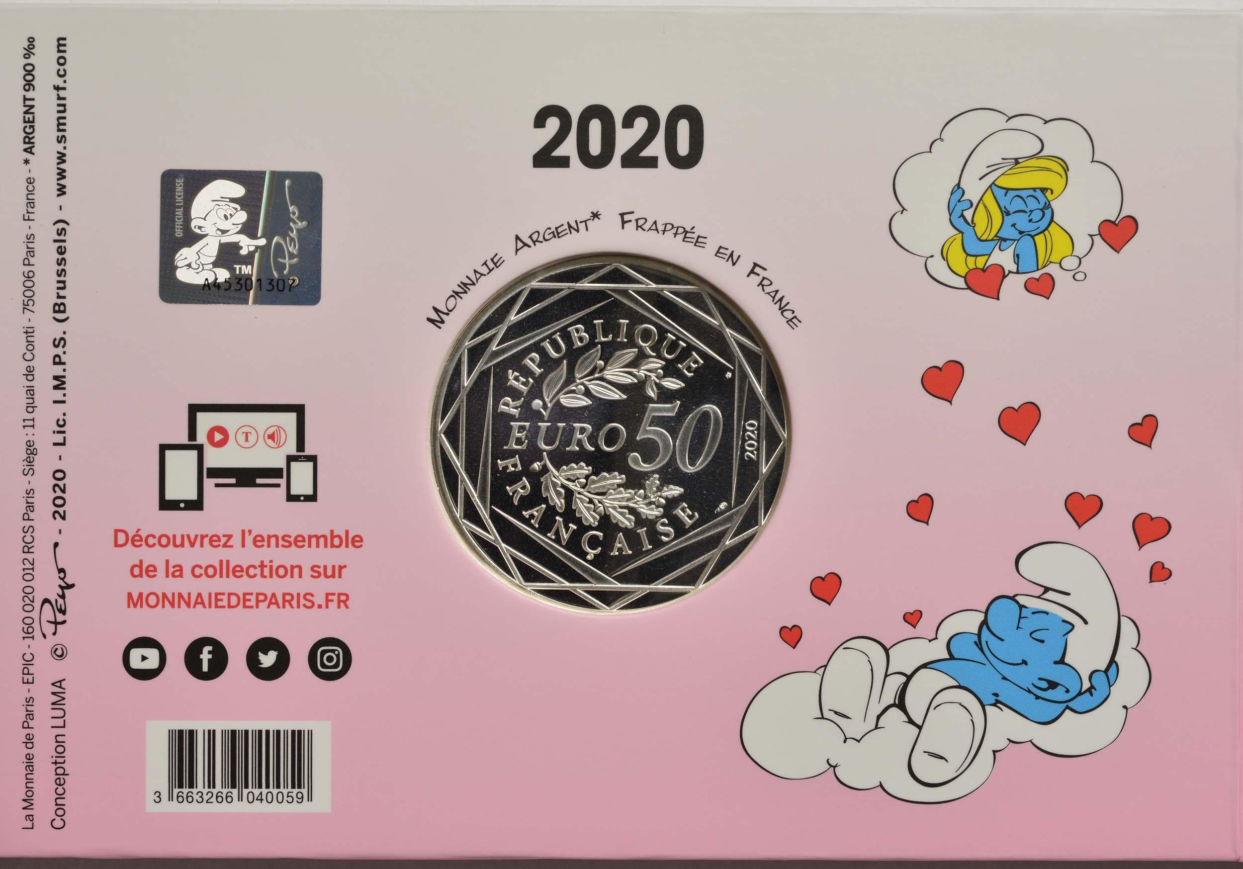 Rückseite:Frankreich : 50 Euro verliebter Schlumpf  2020 Stgl.