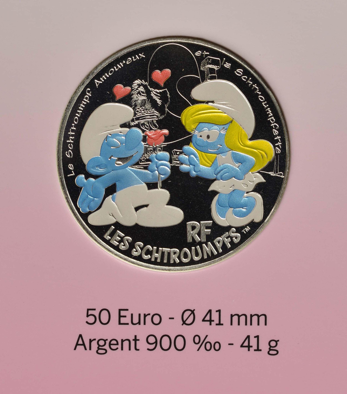 Vorderseite:Frankreich : 50 Euro verliebter Schlumpf  2020 Stgl.