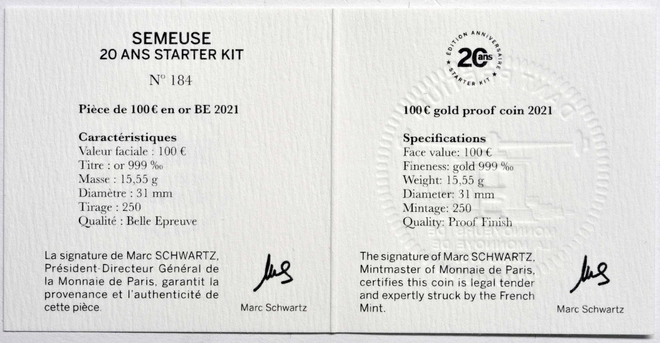 Zertifikat:Frankreich : 100 Euro 20 Jahre Starterkit  2021 PP