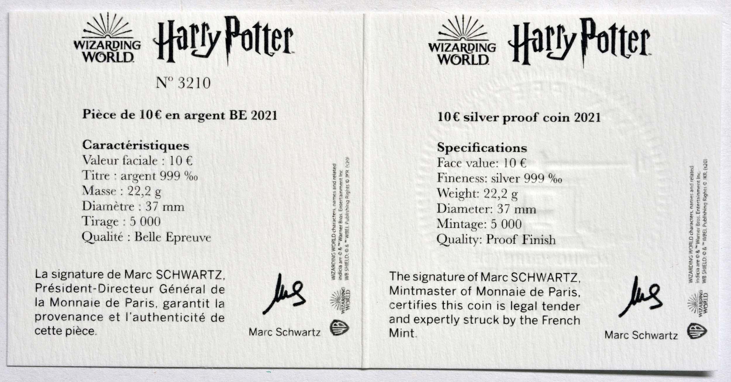 Zertifikat:Frankreich : 10 Euro Harry Potter und Dumbledore  2021 PP