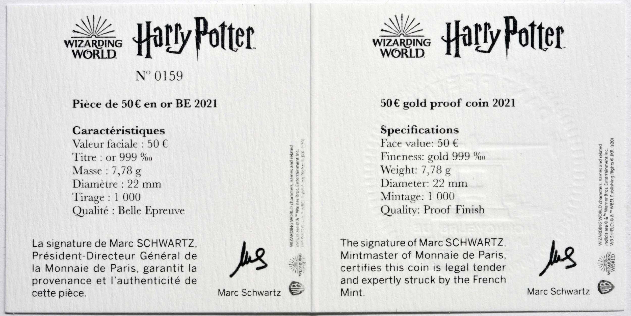 Zertifikat:Frankreich : 50 Euro Harry Potter und Dumbledore  2021 PP