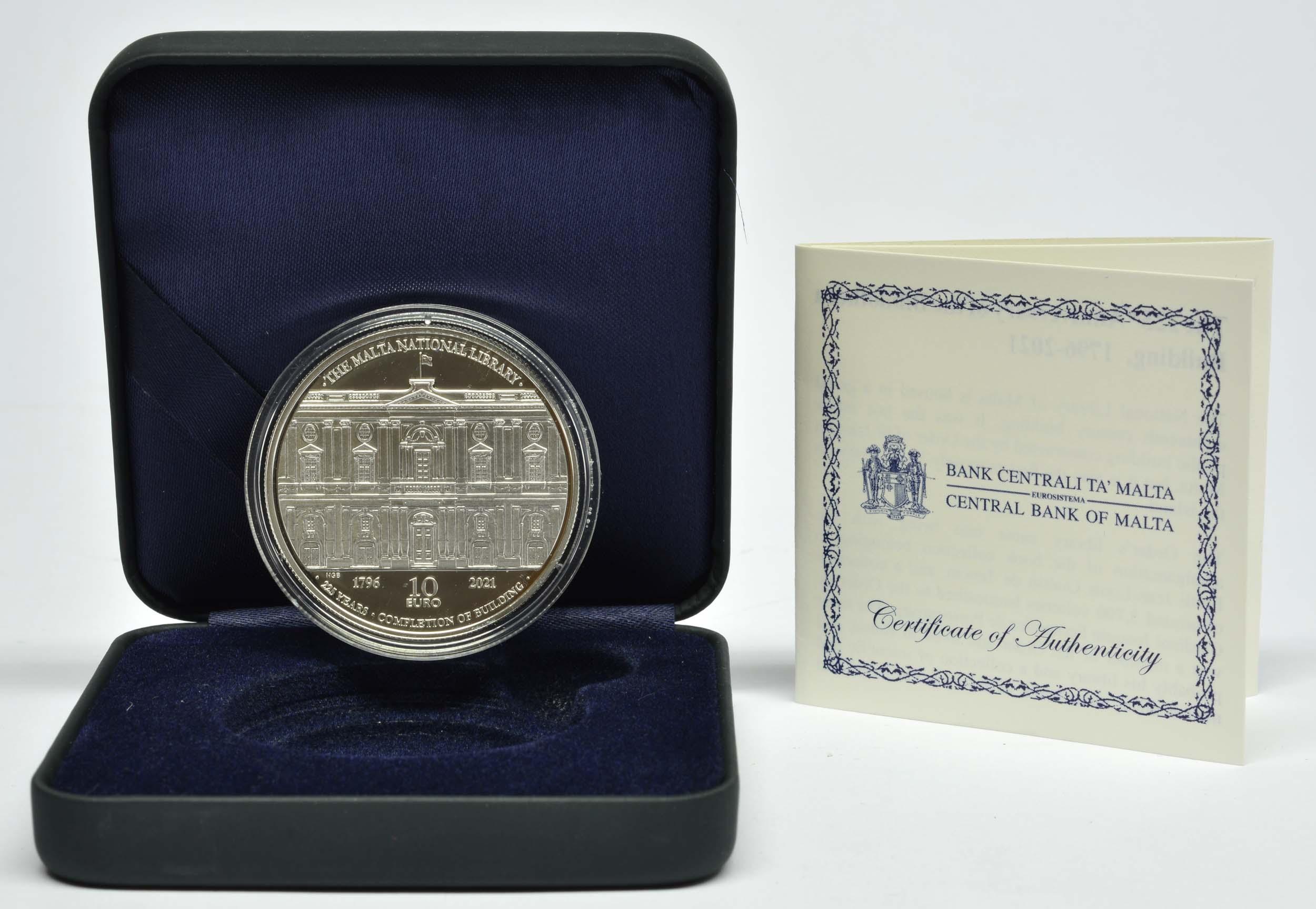 Lieferumfang:Malta : 10 Euro 225 Jahre Fertigstellung der Bibliothek von 1796  2021 PP