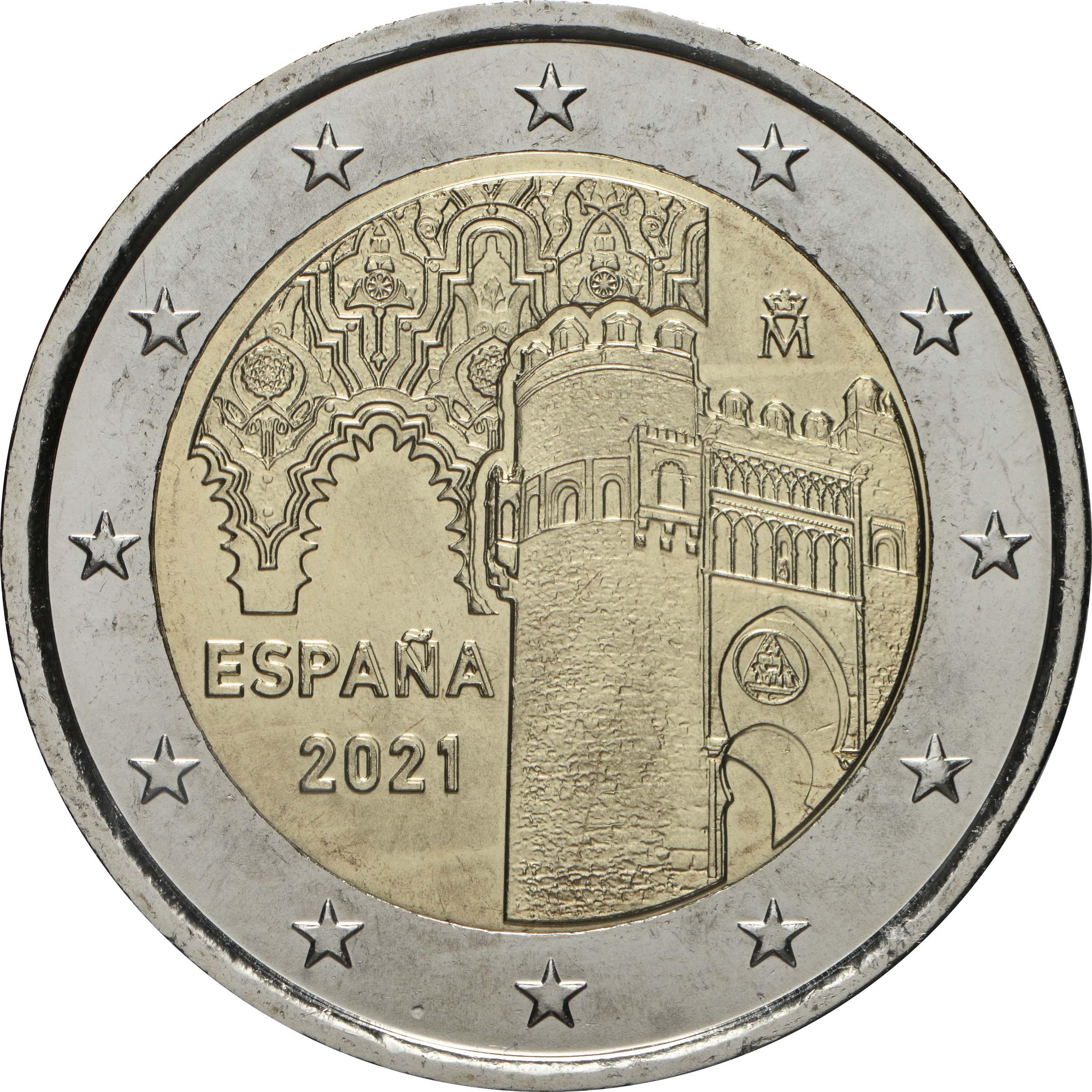 Rückseite:Spanien : 2 Euro Altstadt von Toledo  2021 bfr