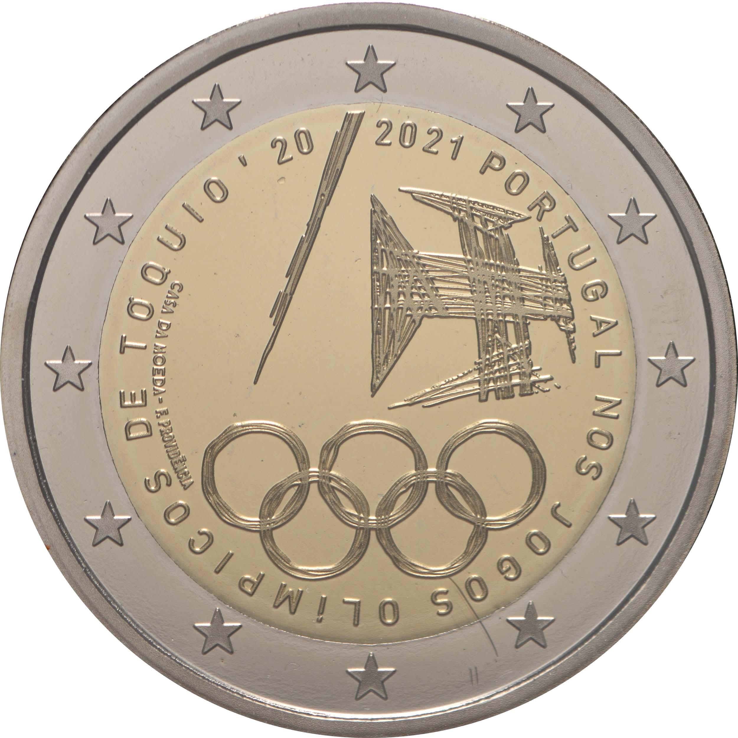 Rückseite:Portugal : 2 Euro Teilnahme an den Olympischen Spielen in Tokio  2021 PP