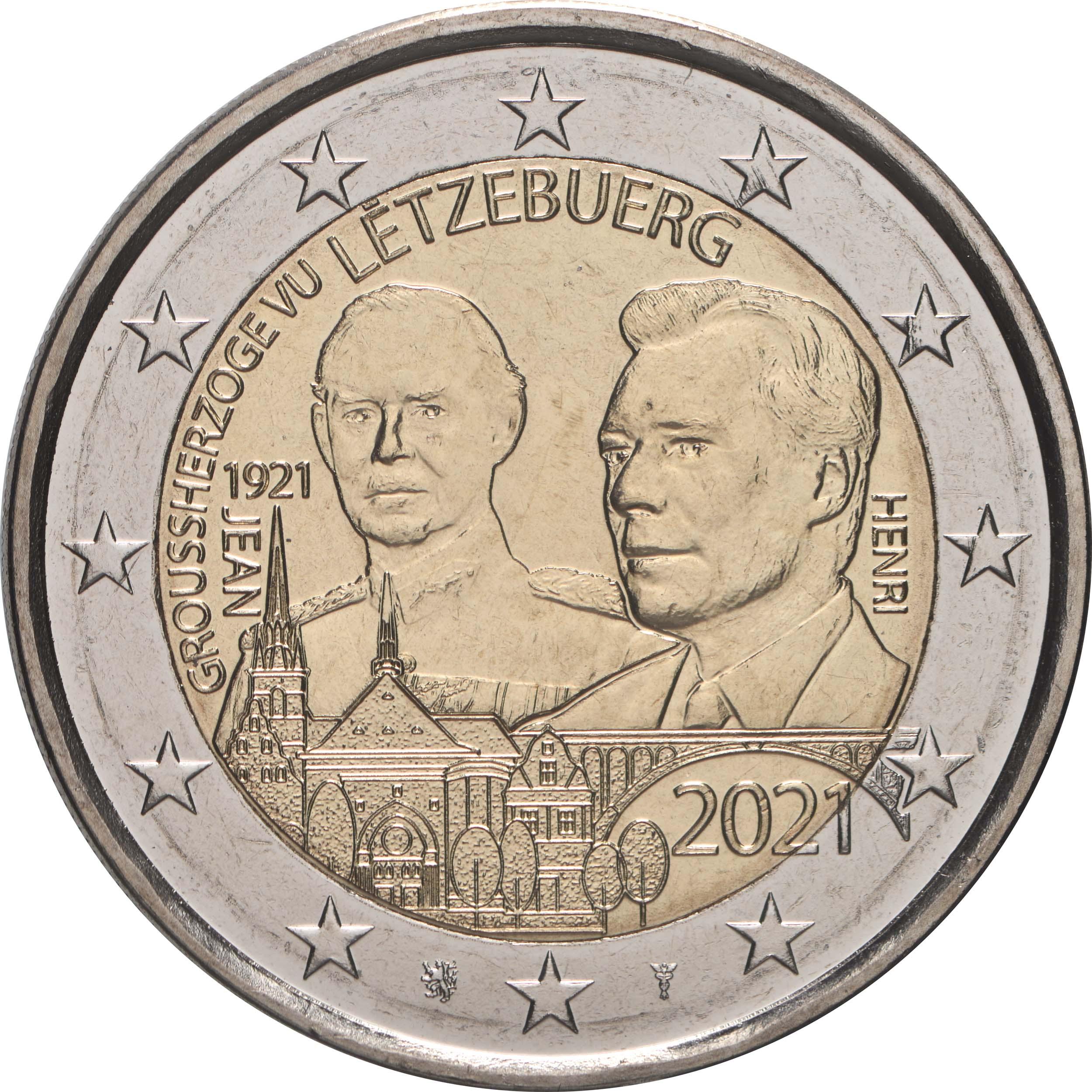 Rückseite:Luxemburg : 2 Euro 100. Geburtstag des Großherzogs Jean / Reliefprägung  2021 bfr