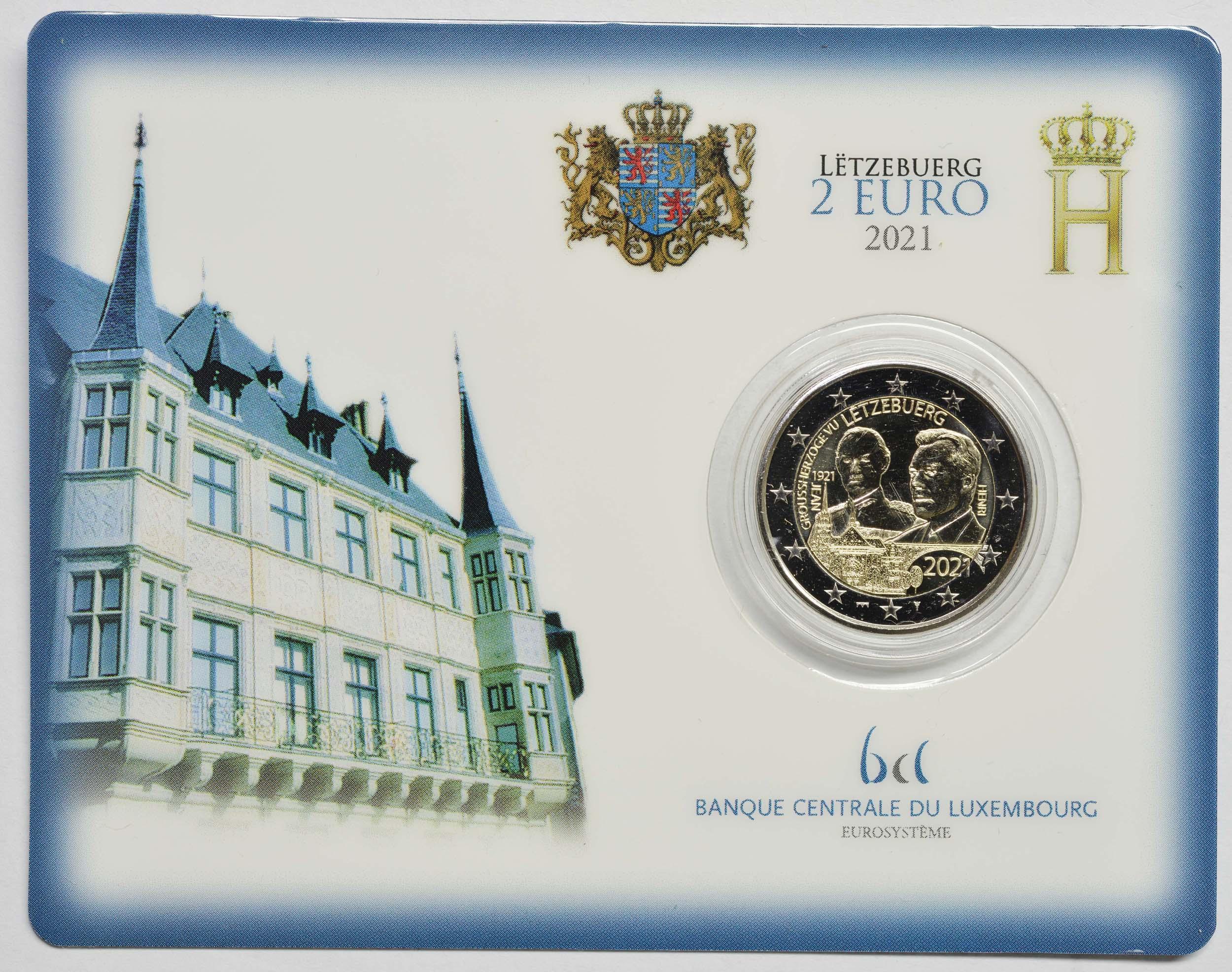 Lieferumfang:Luxemburg : 2 Euro 100. Geburtstag des Großherzogs Jean  2021 Stgl.