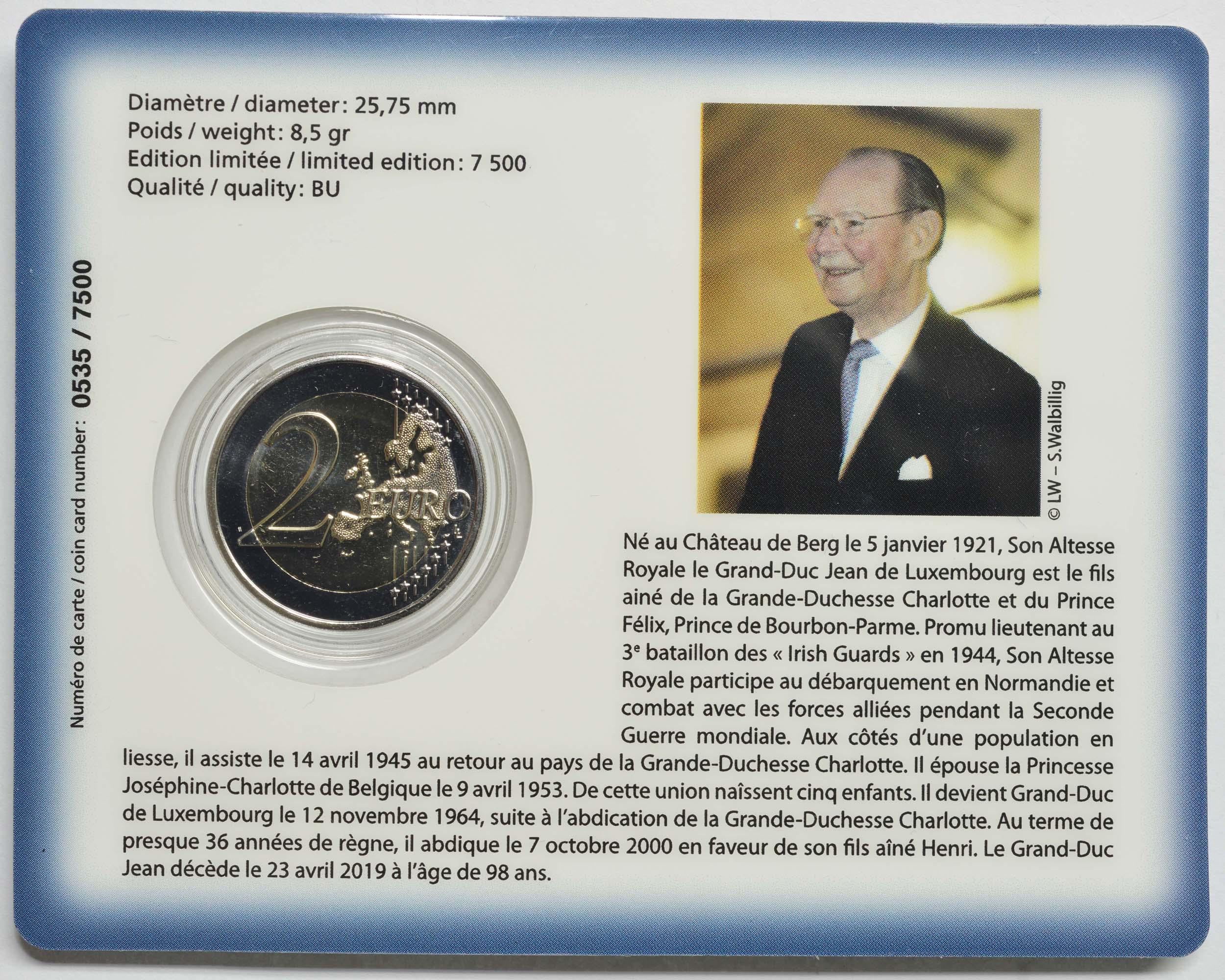 Zertifikat:Luxemburg : 2 Euro 100. Geburtstag des Großherzogs Jean  2021 Stgl.