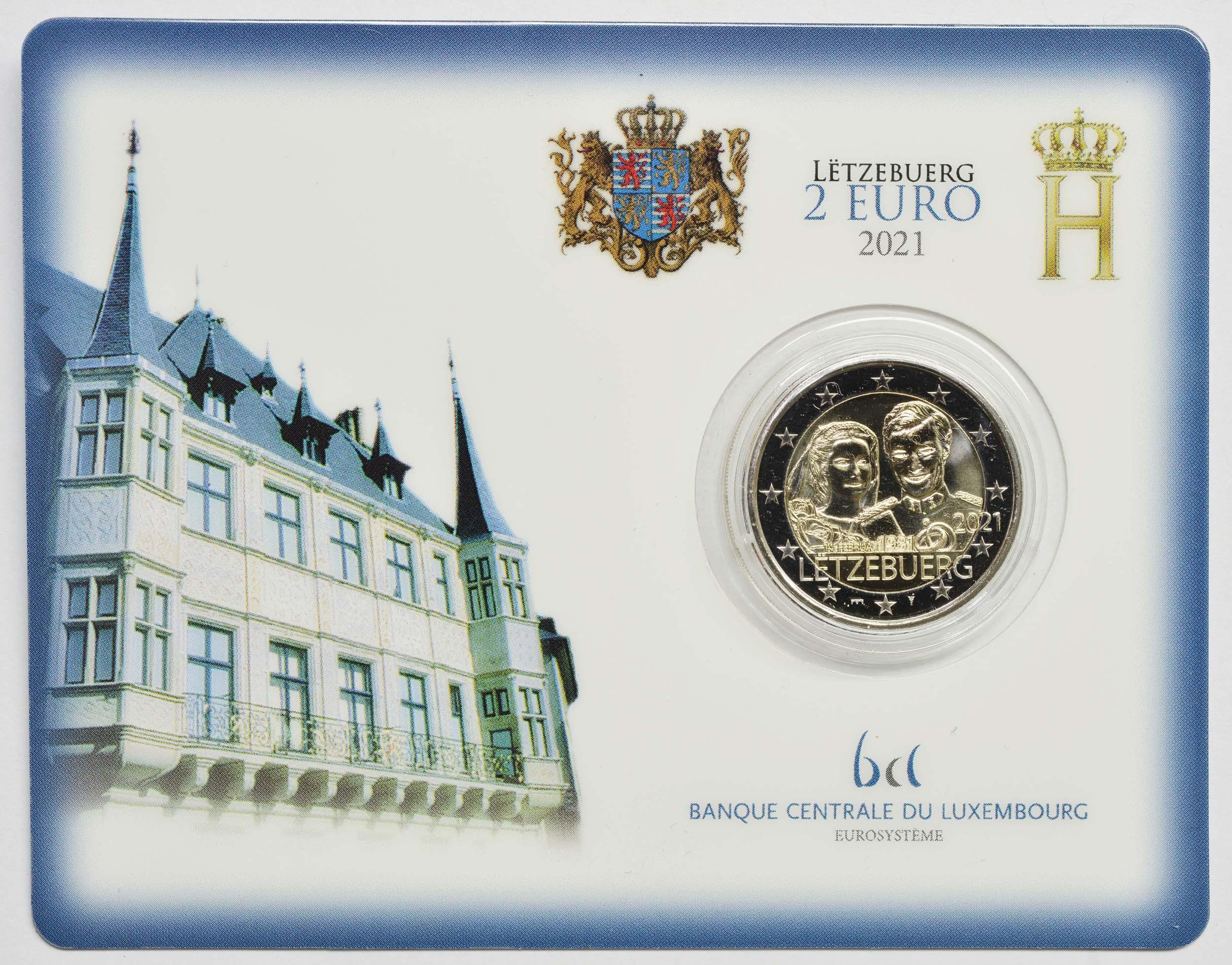 Lieferumfang:Luxemburg : 2 Euro 40. Hochzeitstag des großherzoglichen Paares  2021 Stgl.