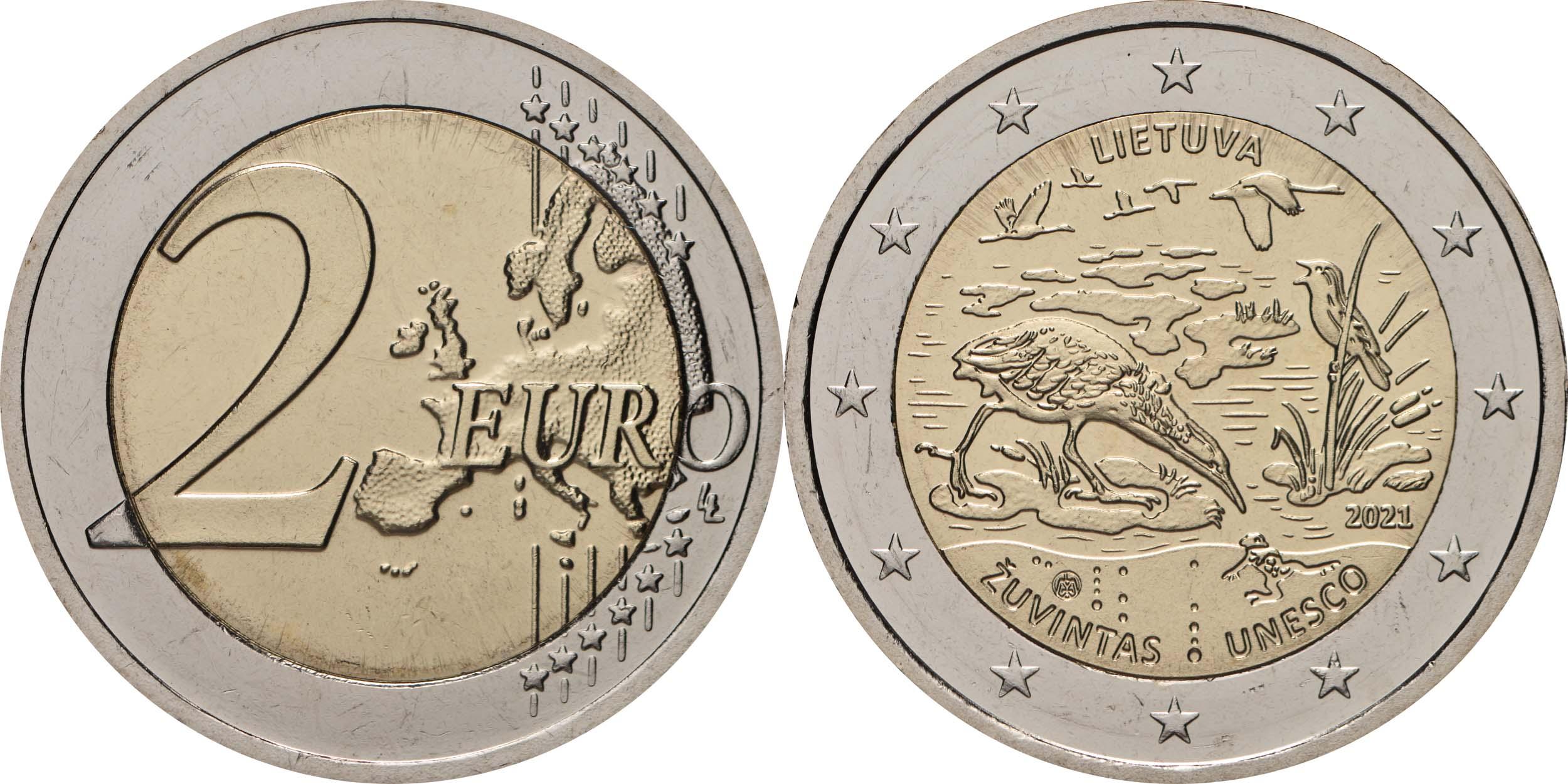 Lieferumfang:Litauen : 2 Euro Zuvintas Biosphärenreservat  2021 bfr