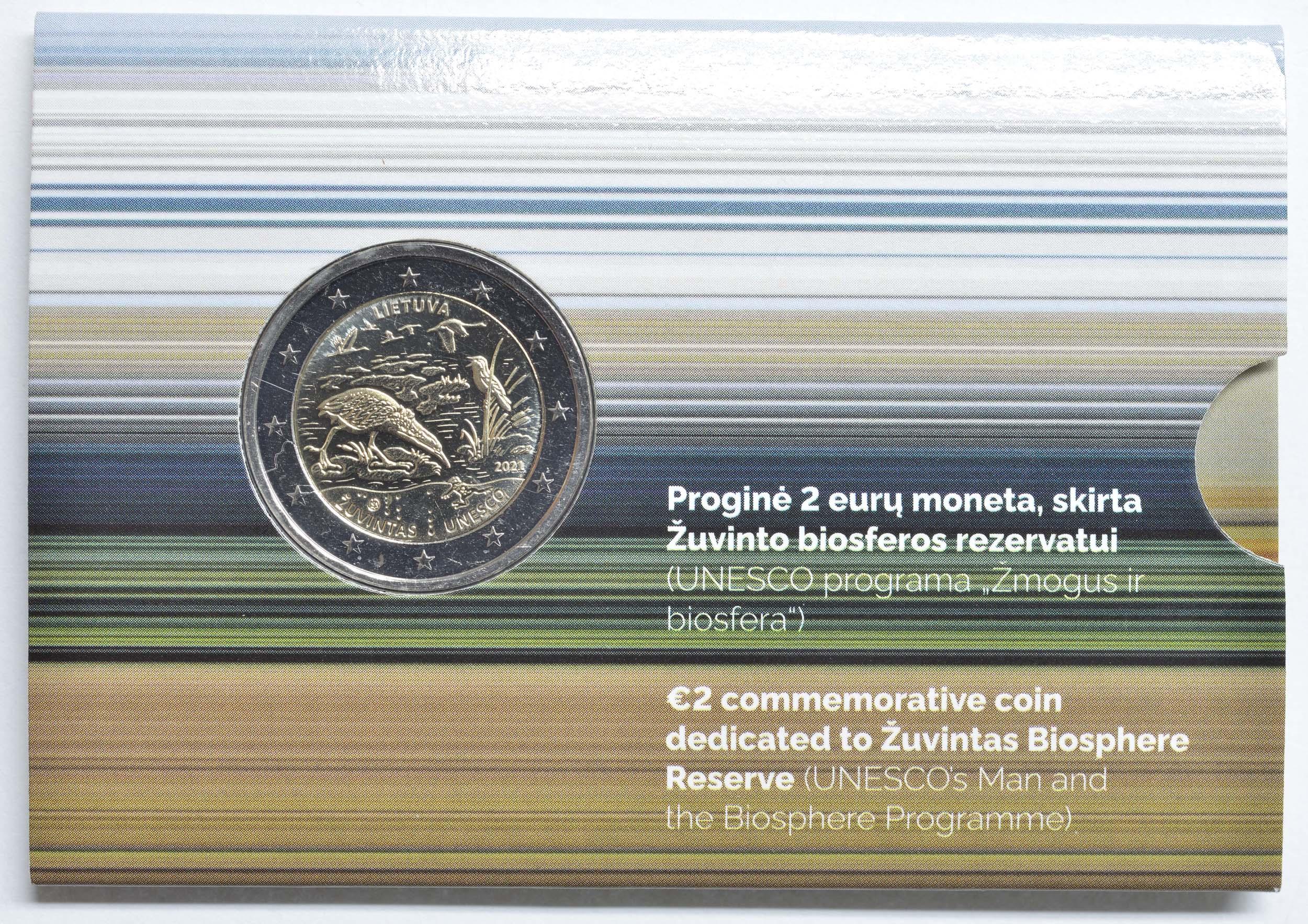 Lieferumfang:Litauen : 2 Euro Zuvintas Biosphärenreservat  2021 Stgl.