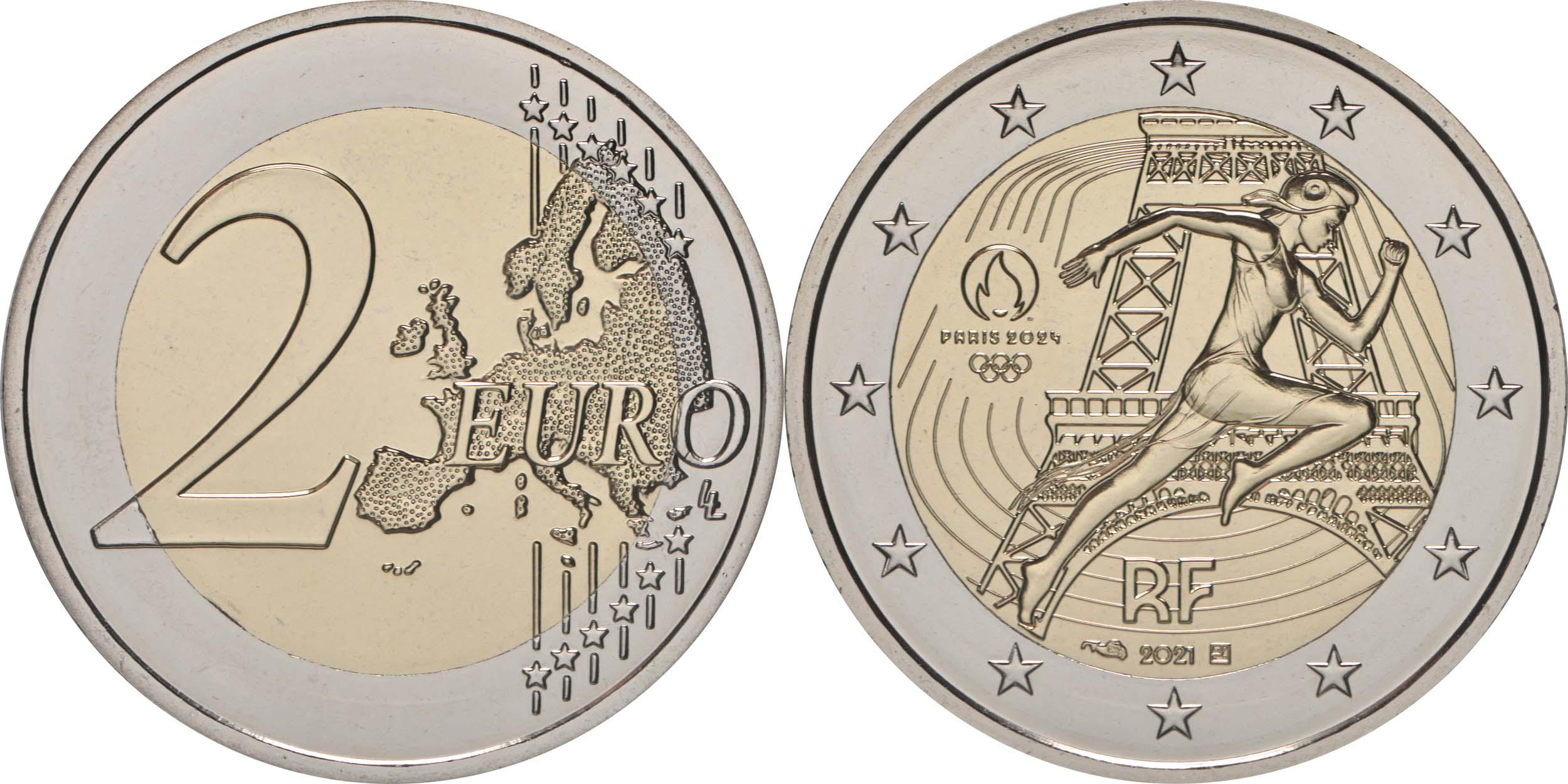 Lieferumfang:Frankreich : 2 Euro Läuferin  2021 bfr