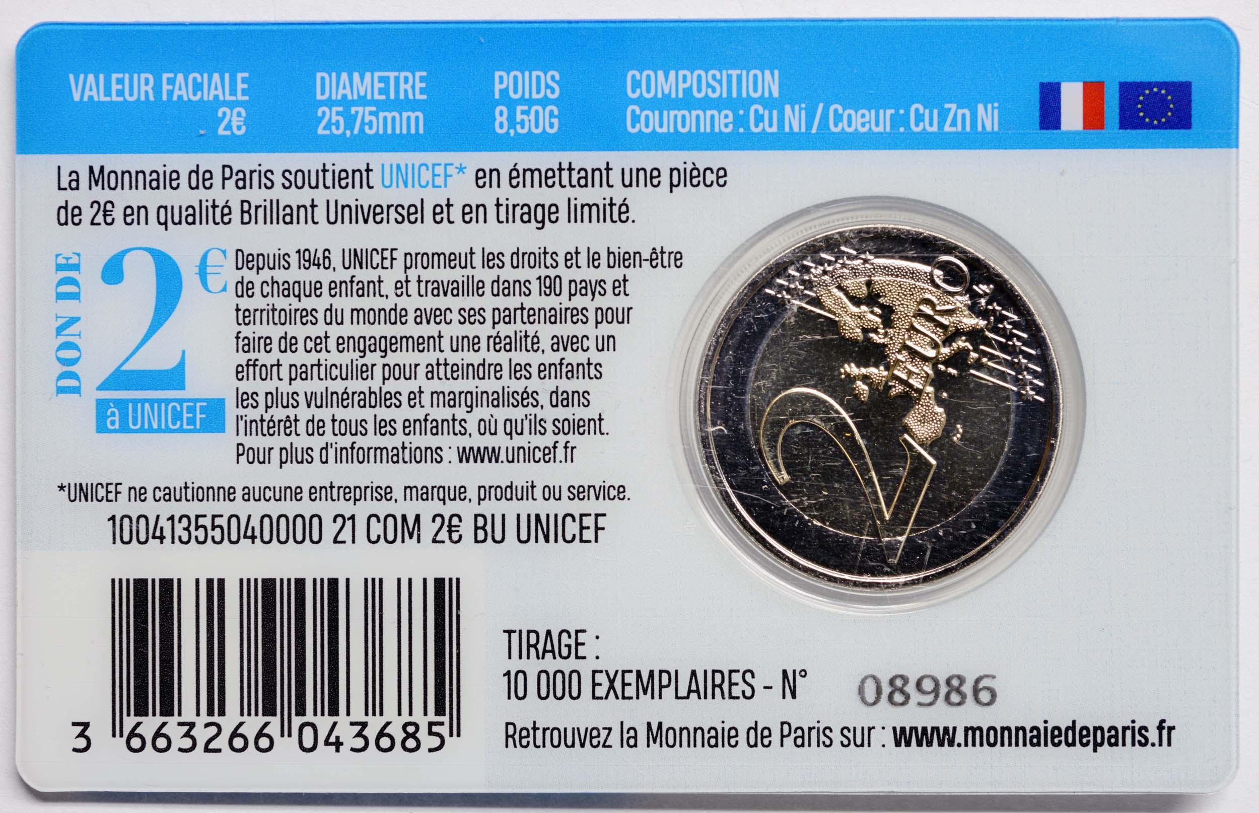 Zertifikat:Frankreich : 2 Euro 75 Jahre UNICEF  2021 Stgl.