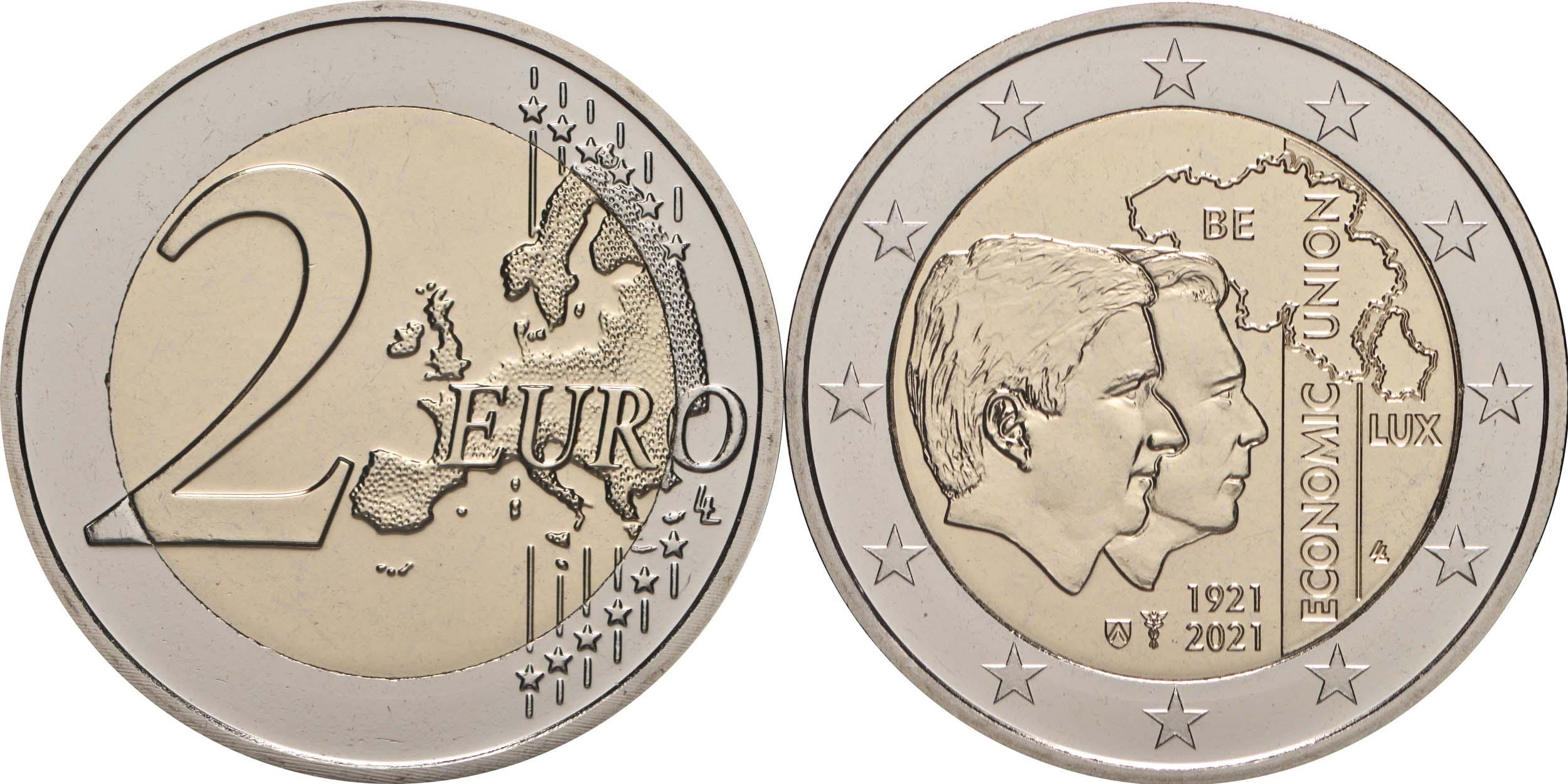 Lieferumfang:Belgien : 2 Euro 100. Jahrestag der Gründung der Belgisch-Luxemburgischen Wirtschaftsunion  2021 bfr
