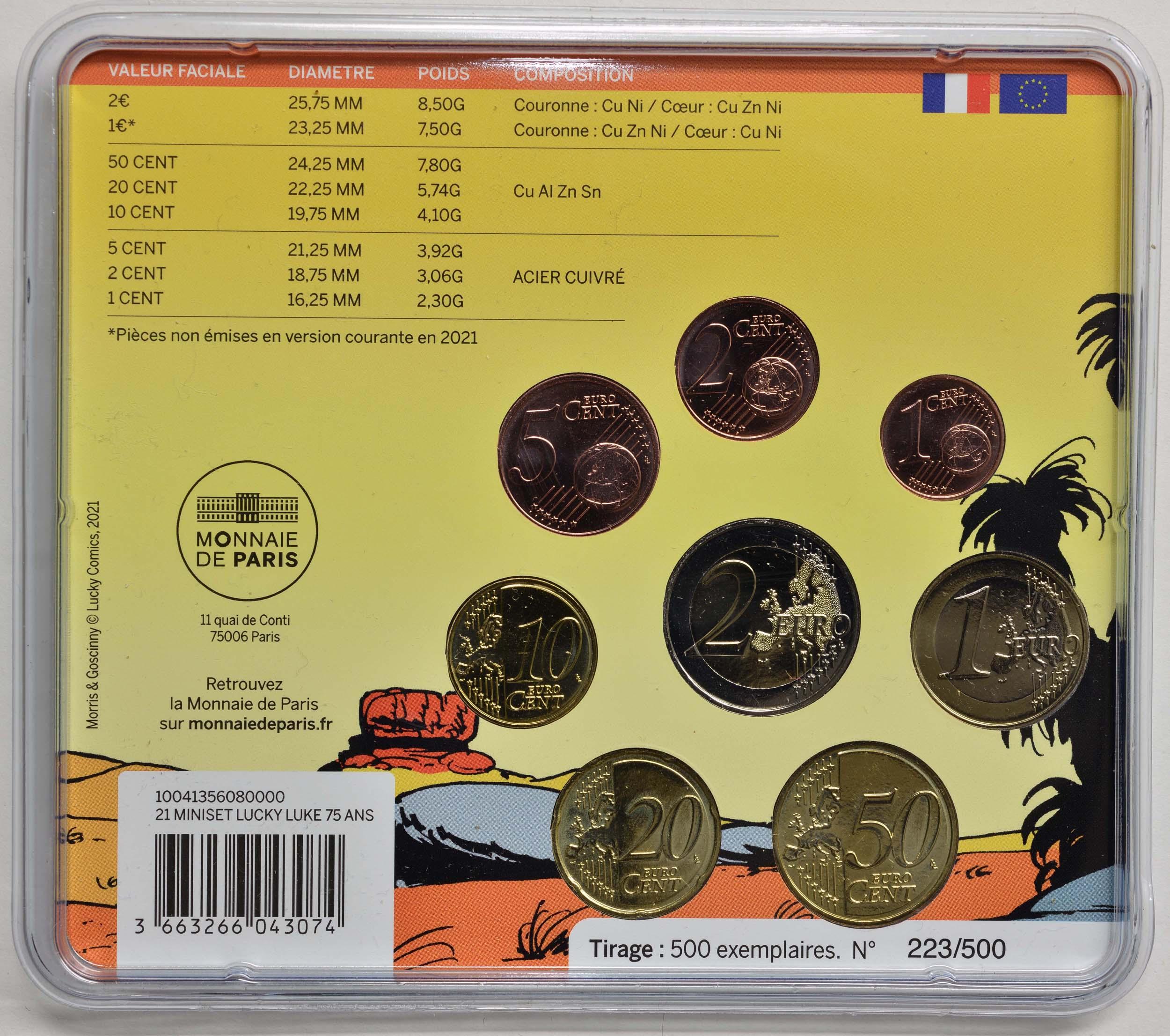 Zertifikat:Frankreich : 3,88 Euro KMS Lucky Luke  2021 Stgl.
