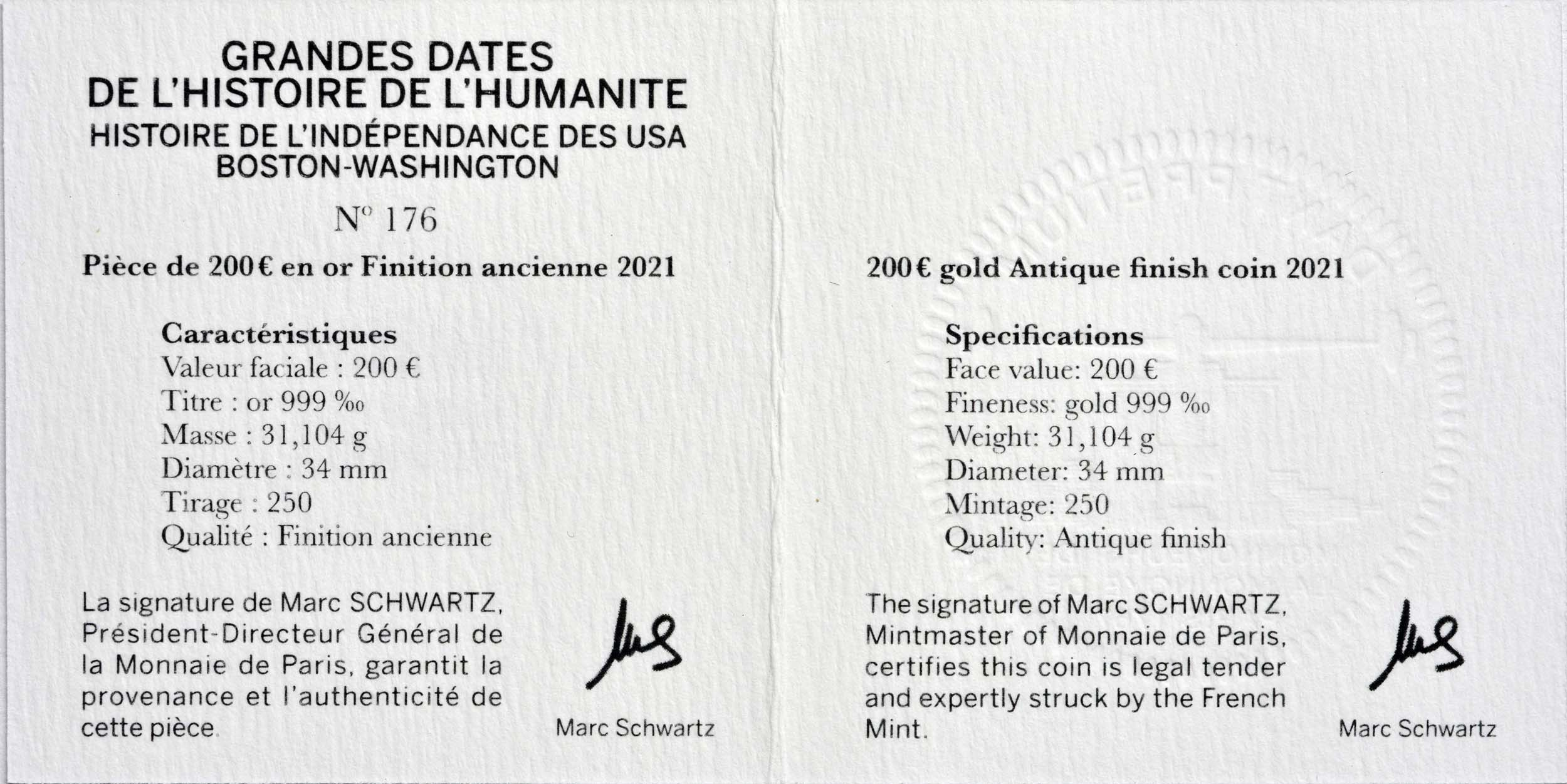 Zertifikat:Frankreich : 200 Euro Washington  2021 PP
