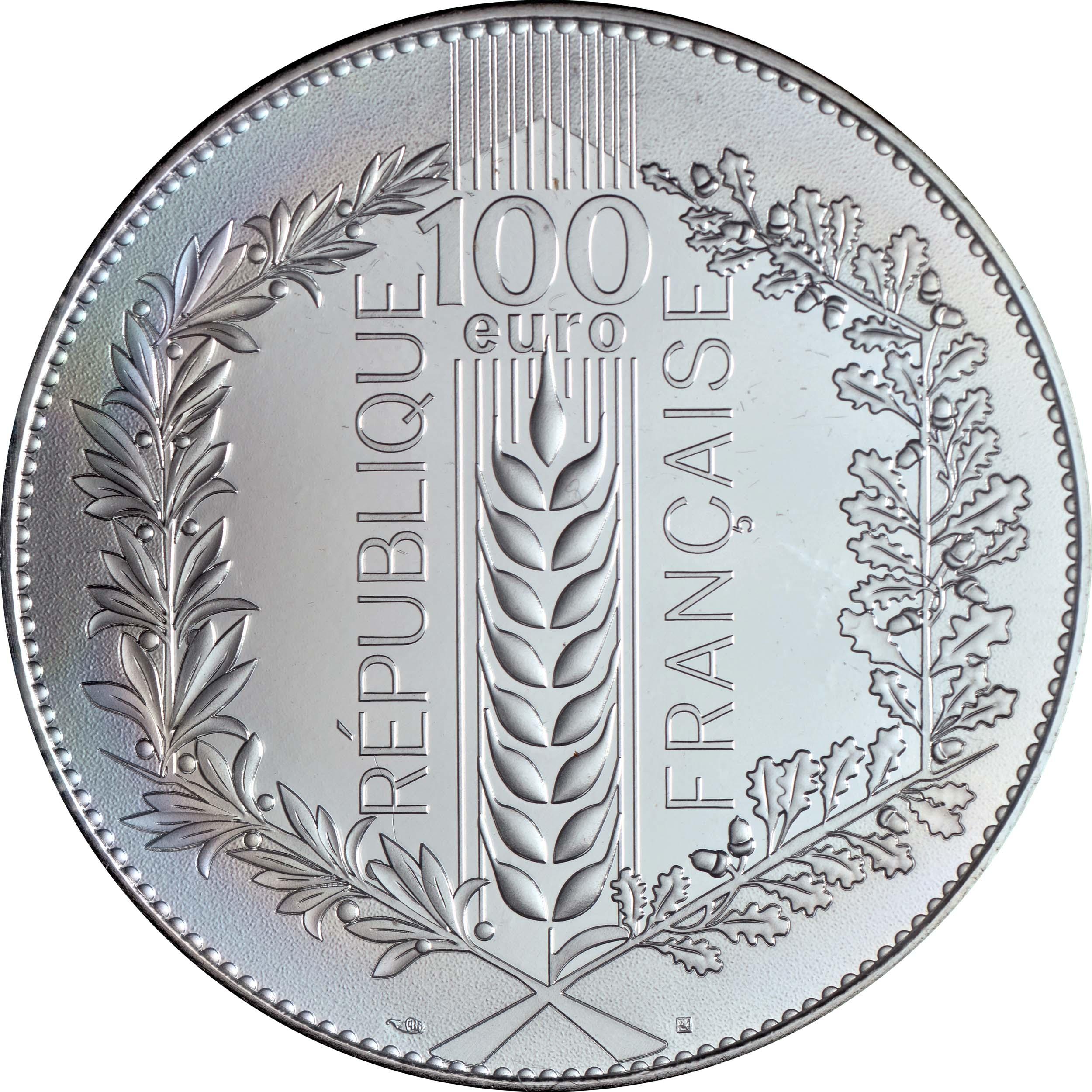 Rückseite:Frankreich : 100 Euro Lorbeer  2021 Stgl.