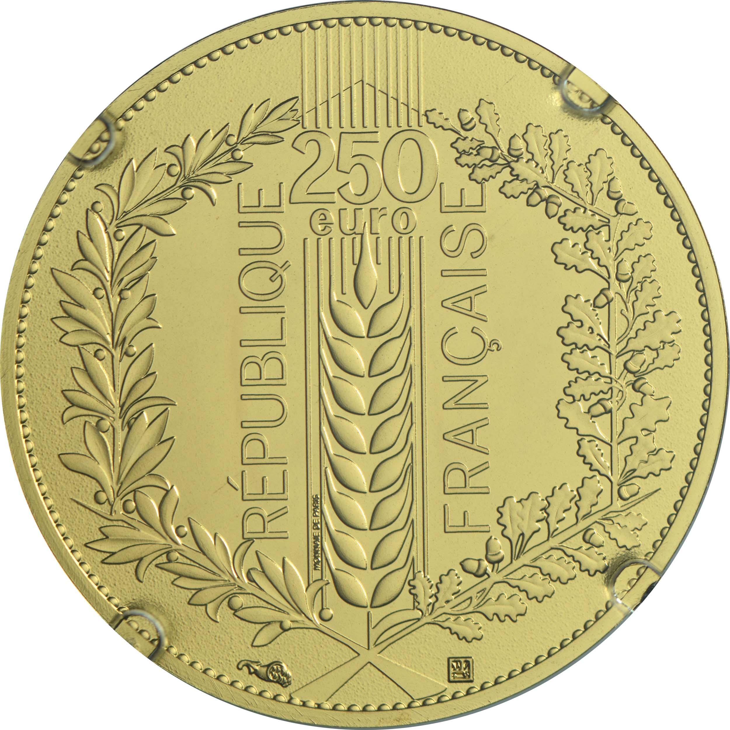 Rückseite:Frankreich : 250 Euro Lorbeer  2021 Stgl.