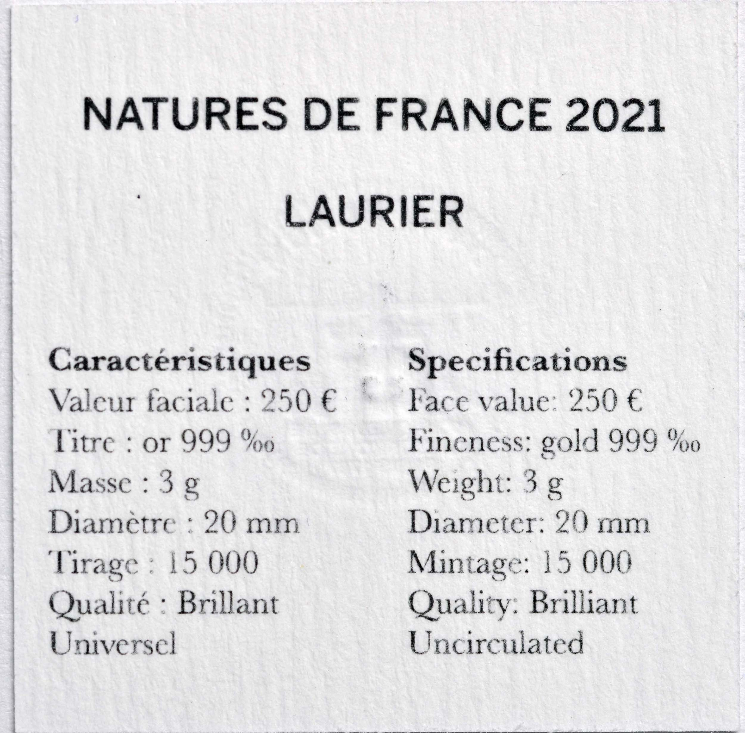 Zertifikat:Frankreich : 250 Euro Lorbeer  2021 Stgl.