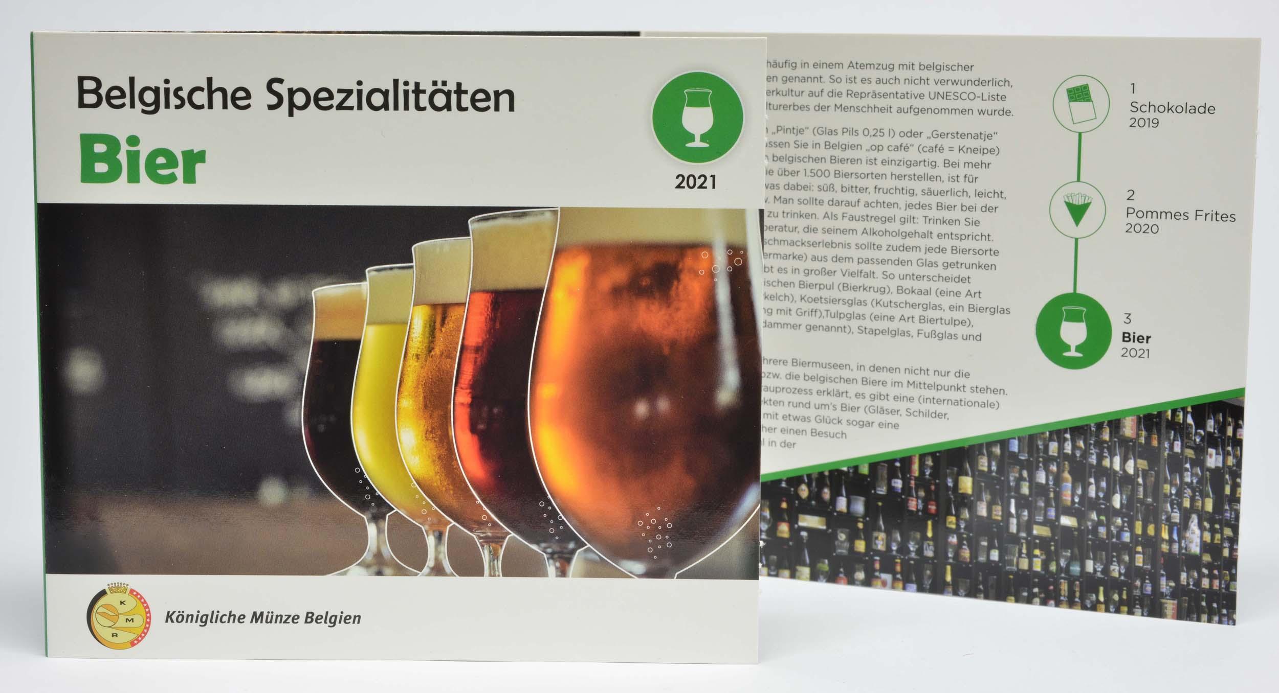 Lieferumfang:Belgien : 3,88 Euro KMS Belgien Bier / World Money Fair WMF 2021  2021 Stgl.