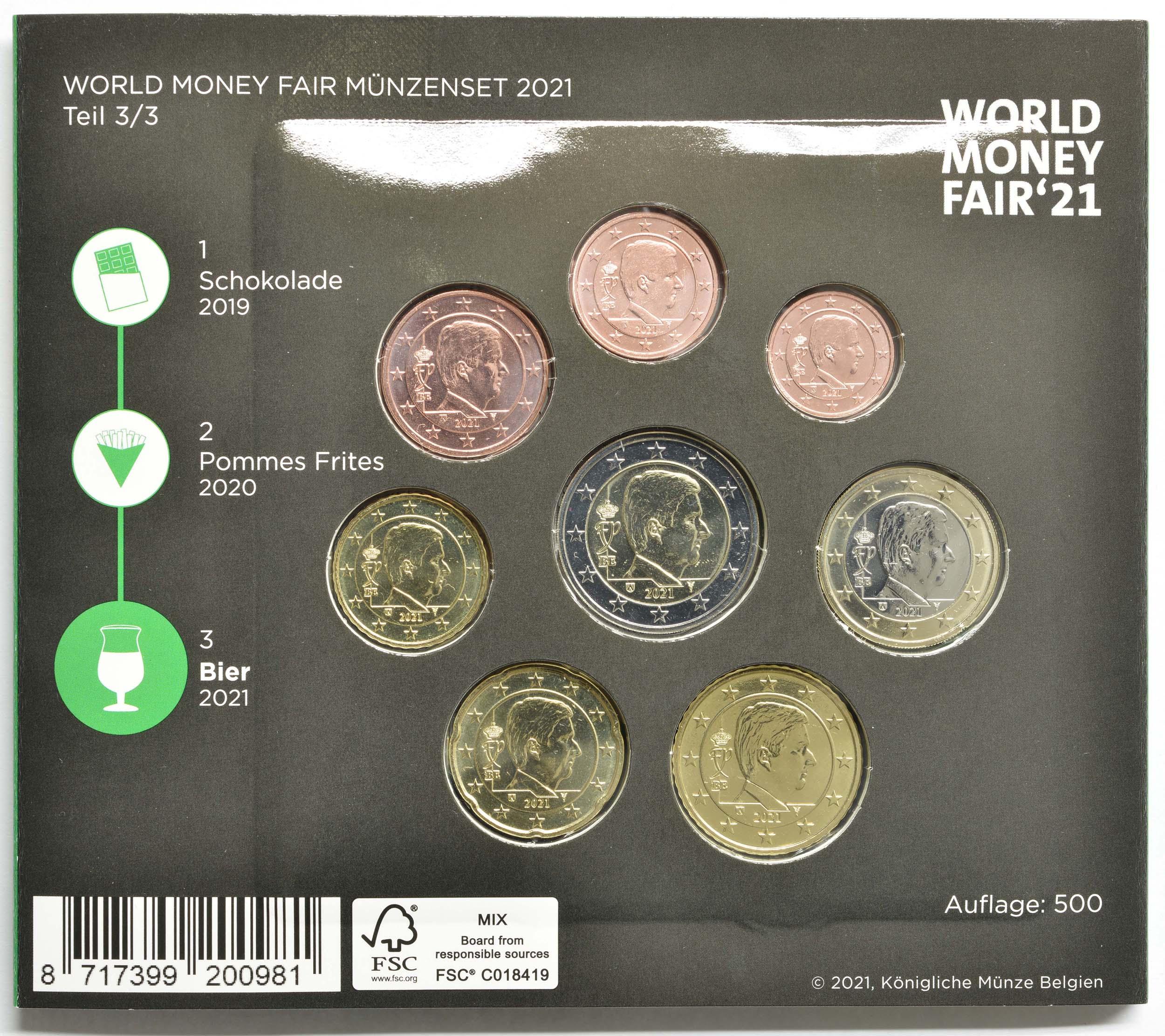 Zertifikat:Belgien : 3,88 Euro KMS Belgien Bier / World Money Fair WMF 2021  2021 Stgl.