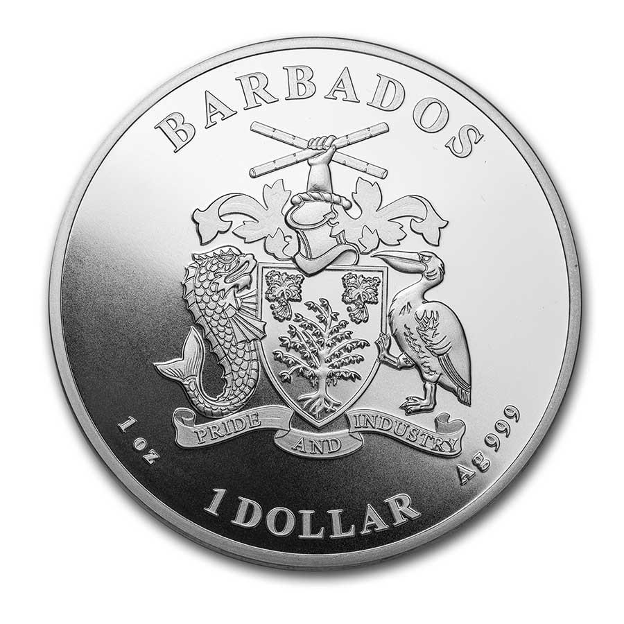 Vorderseite:Barbados : 1 Dollar Karibisches Seepferdchen  2021 Stgl.