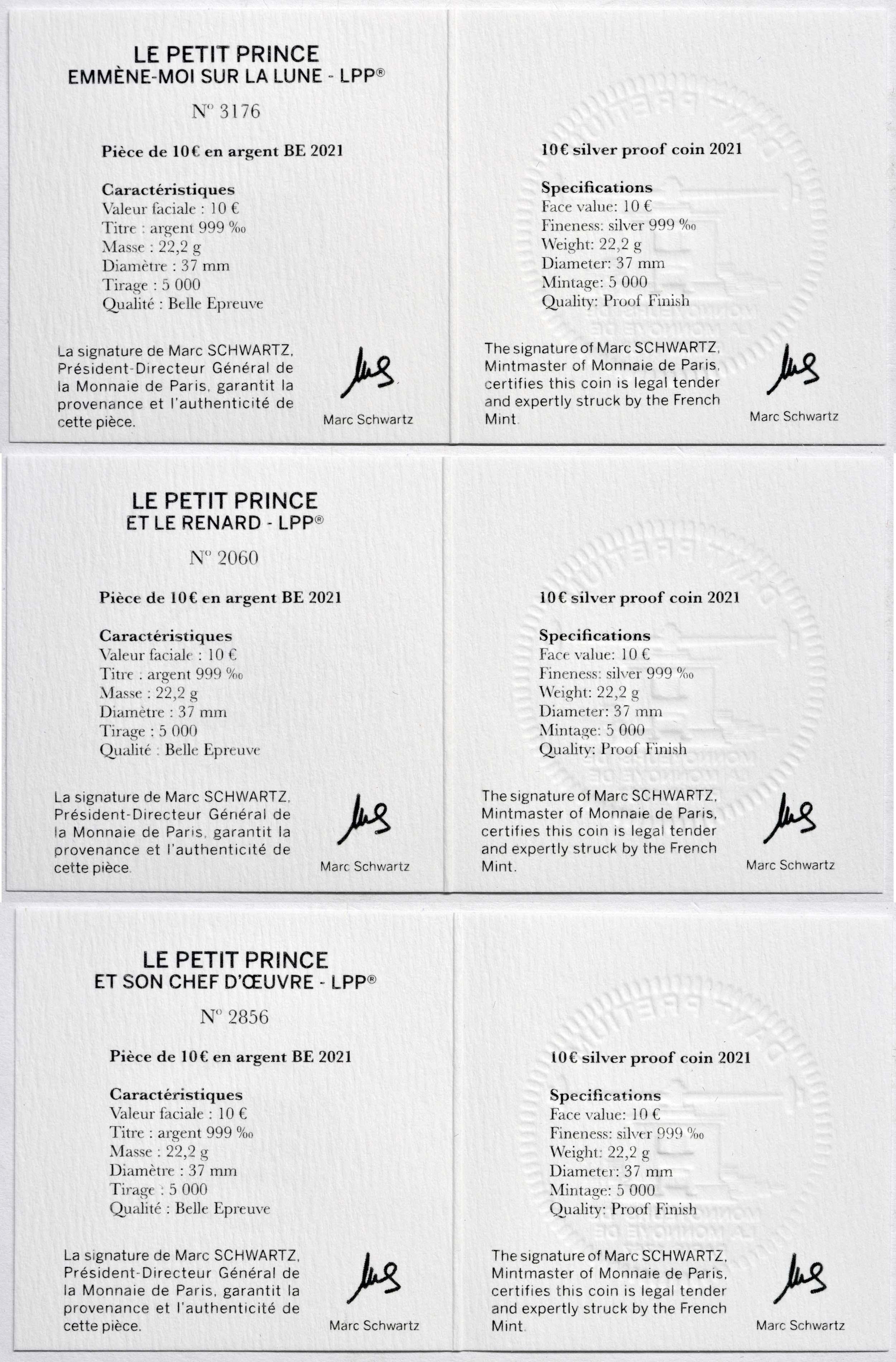 Zertifikat:Frankreich : 10 Euro Set aus 3x10 Euro : Buch, Mond, Fuchs  2021 PP