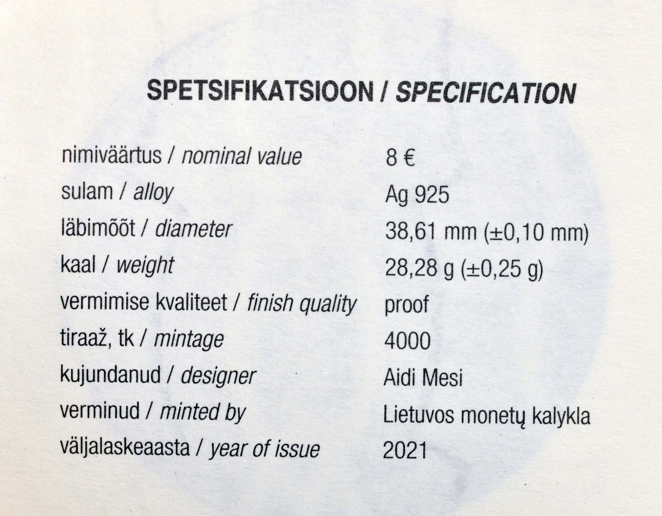 Zertifikat:Estland : 8 Euro Hansestadt Parnu  2021 PP