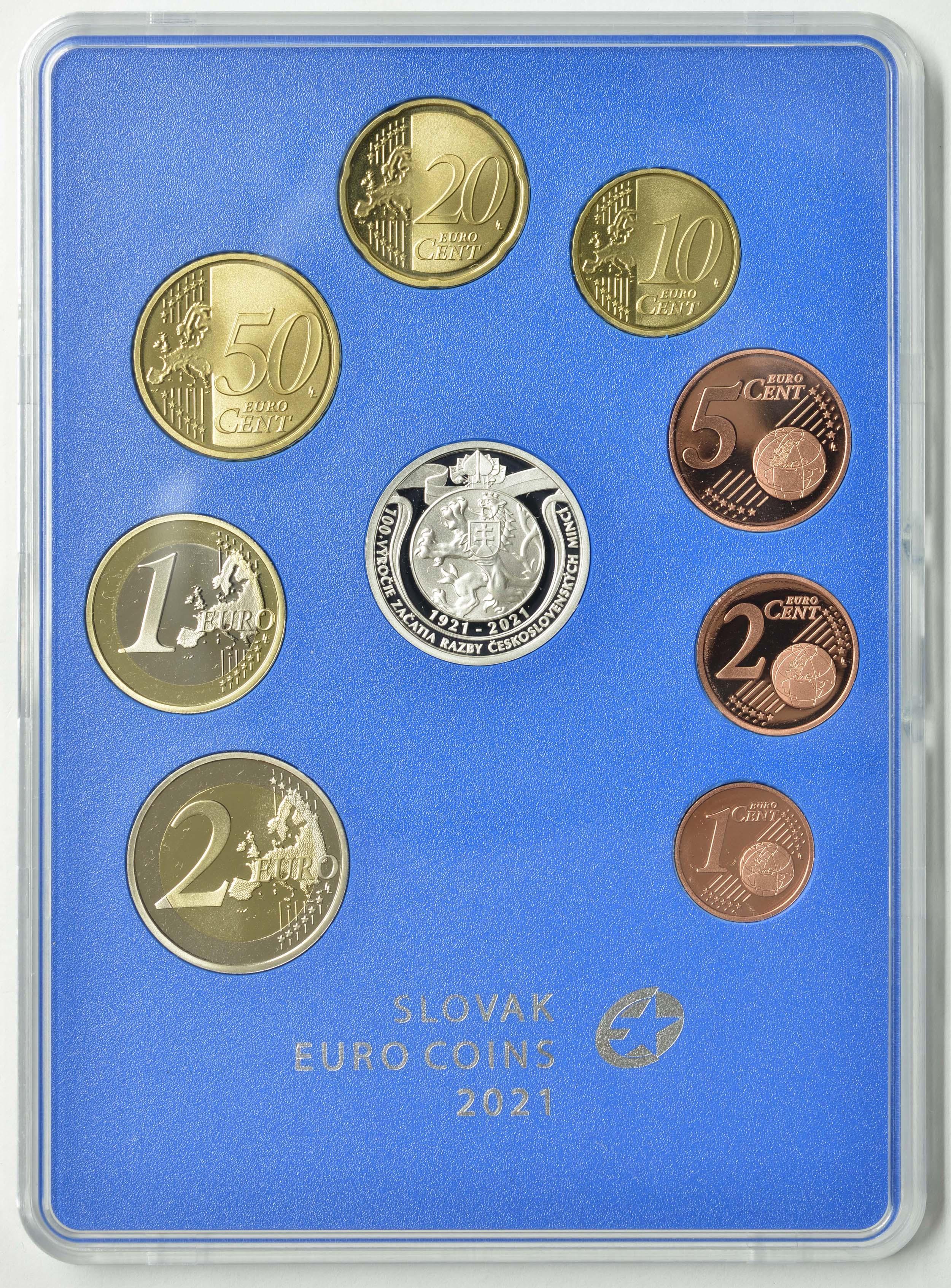 Rückseite:Slowakei : 3,88 Euro KMS Slowakei 100 Jahre Münzprägung  2021 PP