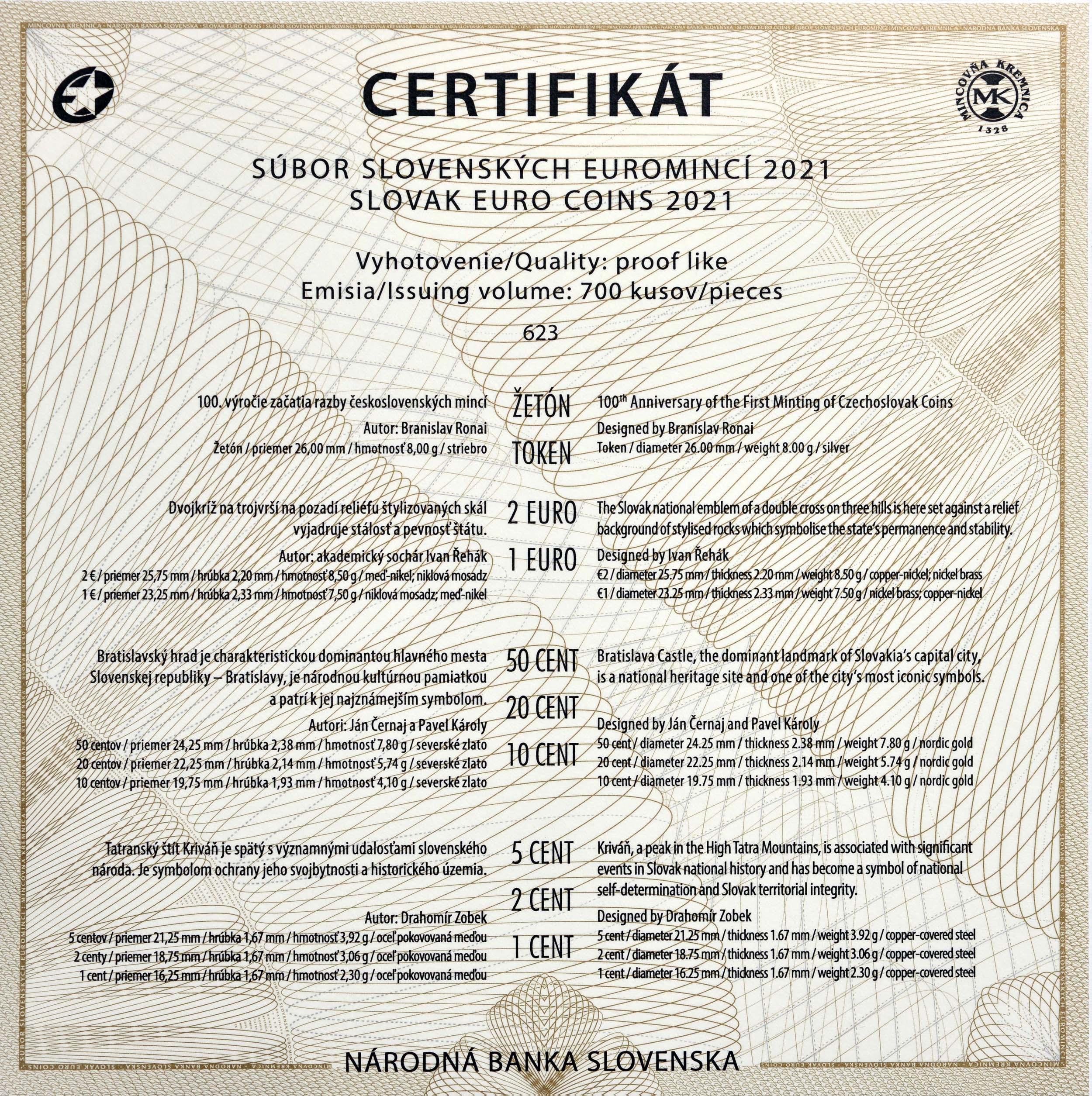 Zertifikat:Slowakei : 3,88 Euro KMS Slowakei 100 Jahre Münzprägung  2021 PP