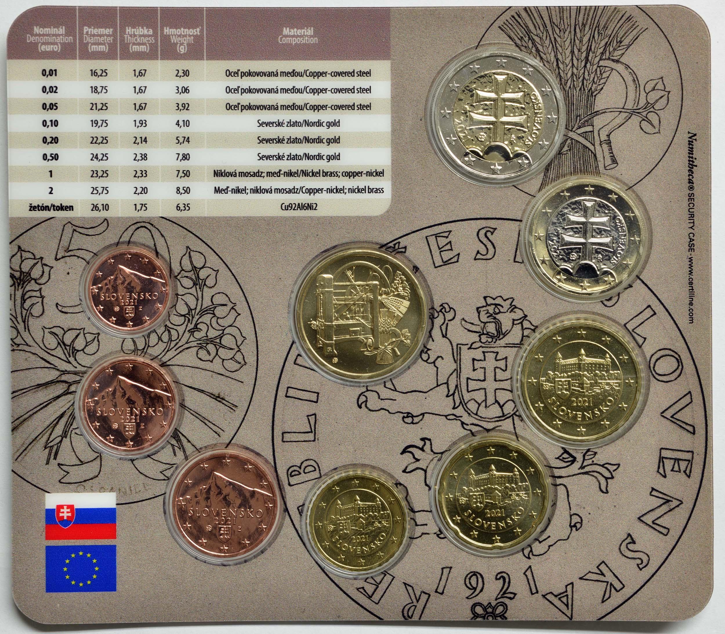 Zertifikat:Slowakei : 3,88 Euro KMS Slowakei 100 Jahre Münzprägung  2021 Stgl.