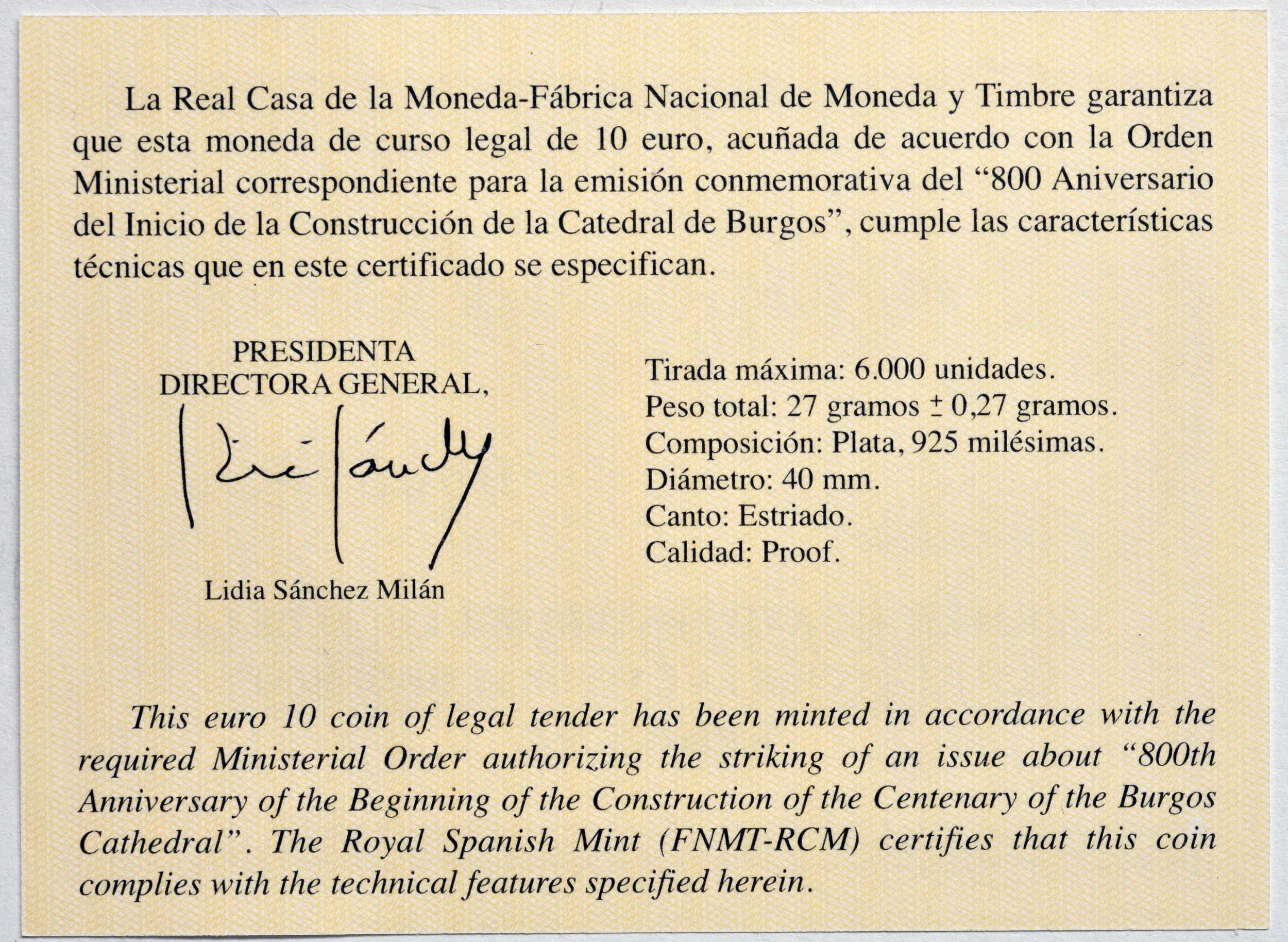 Zertifikat:Spanien : 10 Euro 800 Jahre Kathedrale von Burgos  2021 PP