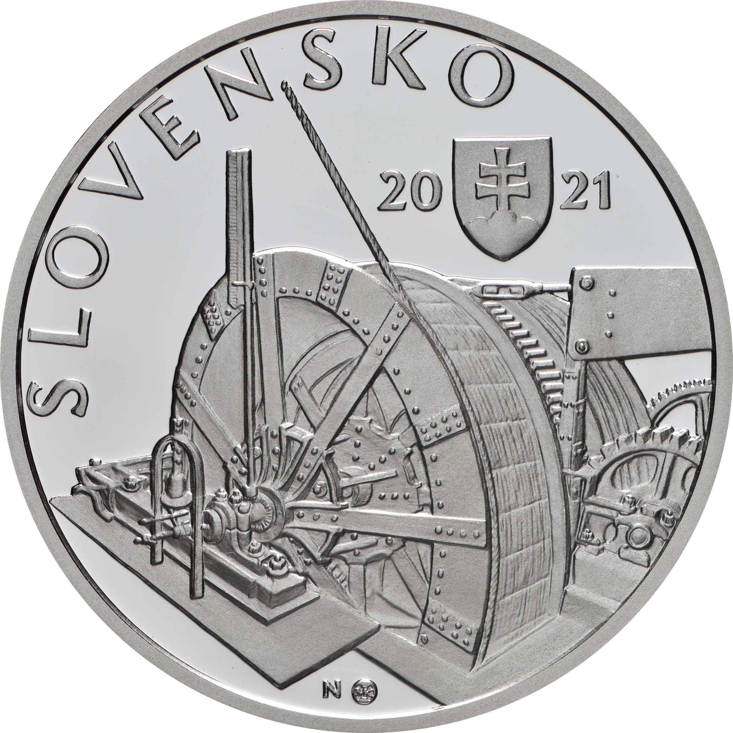Vorderseite:Slowakei : 10 Euro 100 J. Kavernenwasserkraftwerk Kremnica  2021 PP