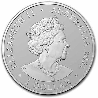 Vorderseite:Australien : 1 Dollar Frazers Delfin 1 oz  2021 Stgl.