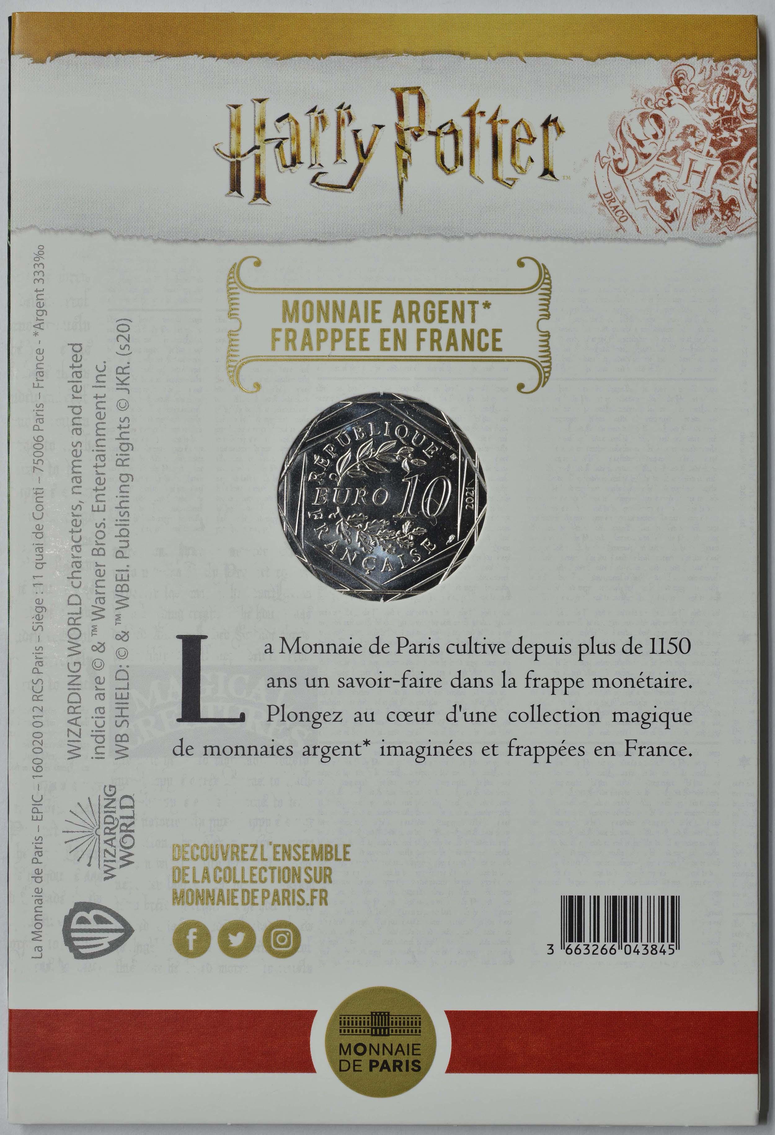 Zertifikat:Frankreich : 10 Euro Die Kammer des Schreckens farbig 4/18  2021 Stgl.