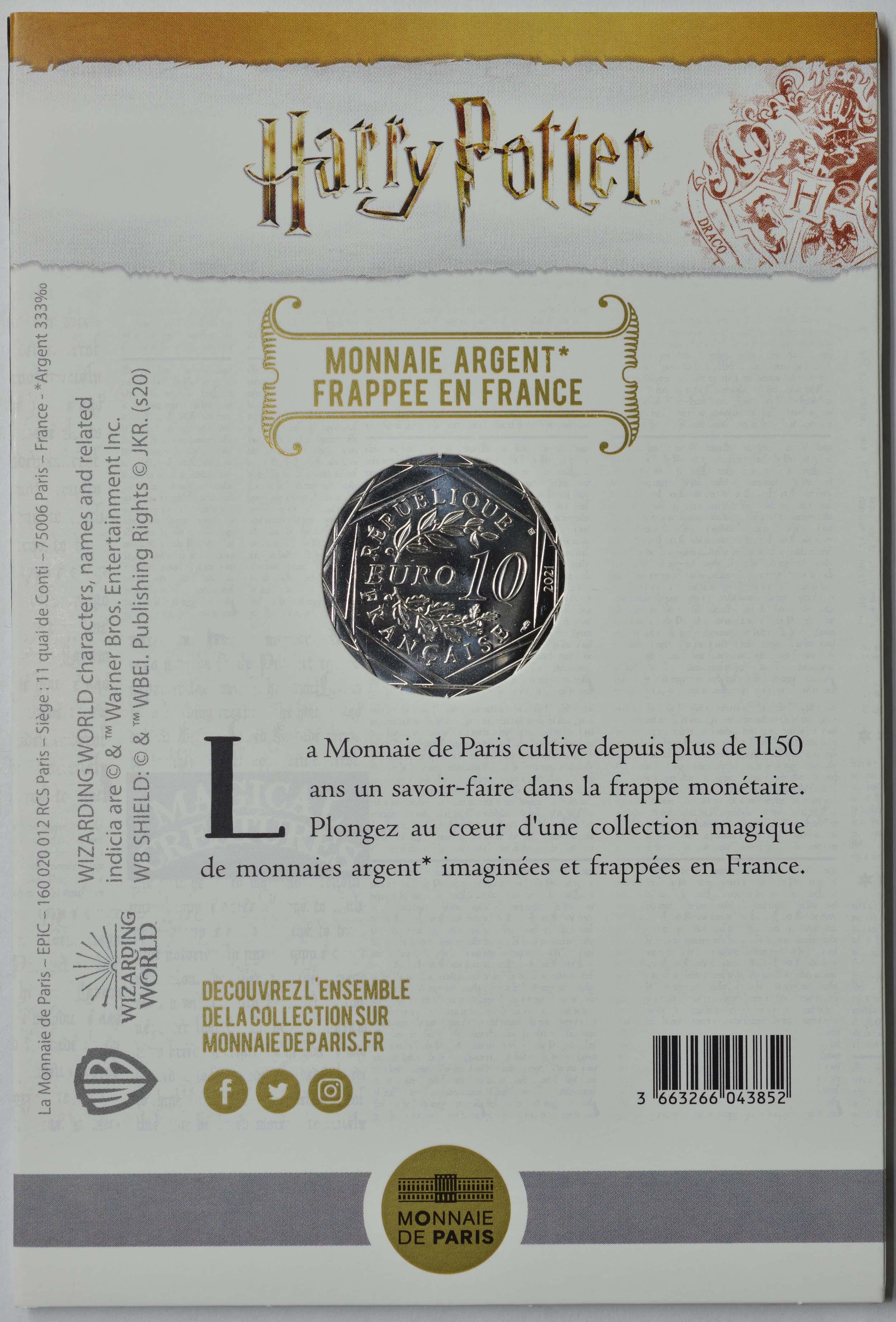 Zertifikat:Frankreich : 10 Euro Der Gefangene von Azkaban farbig 6/18  2021 Stgl.