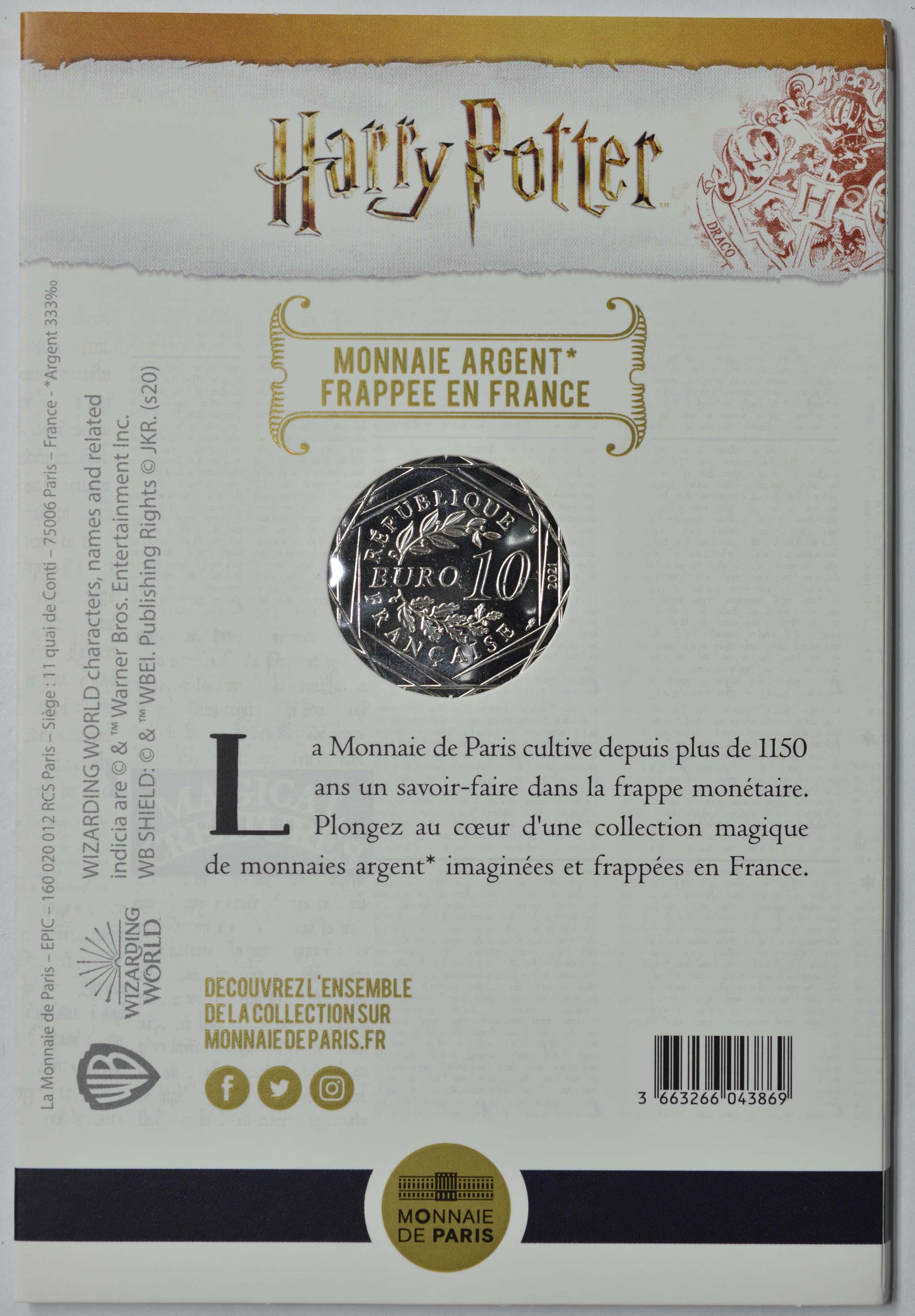 Zertifikat:Frankreich : 10 Euro Der Feuerkelch farbig 8/18  2021 Stgl.