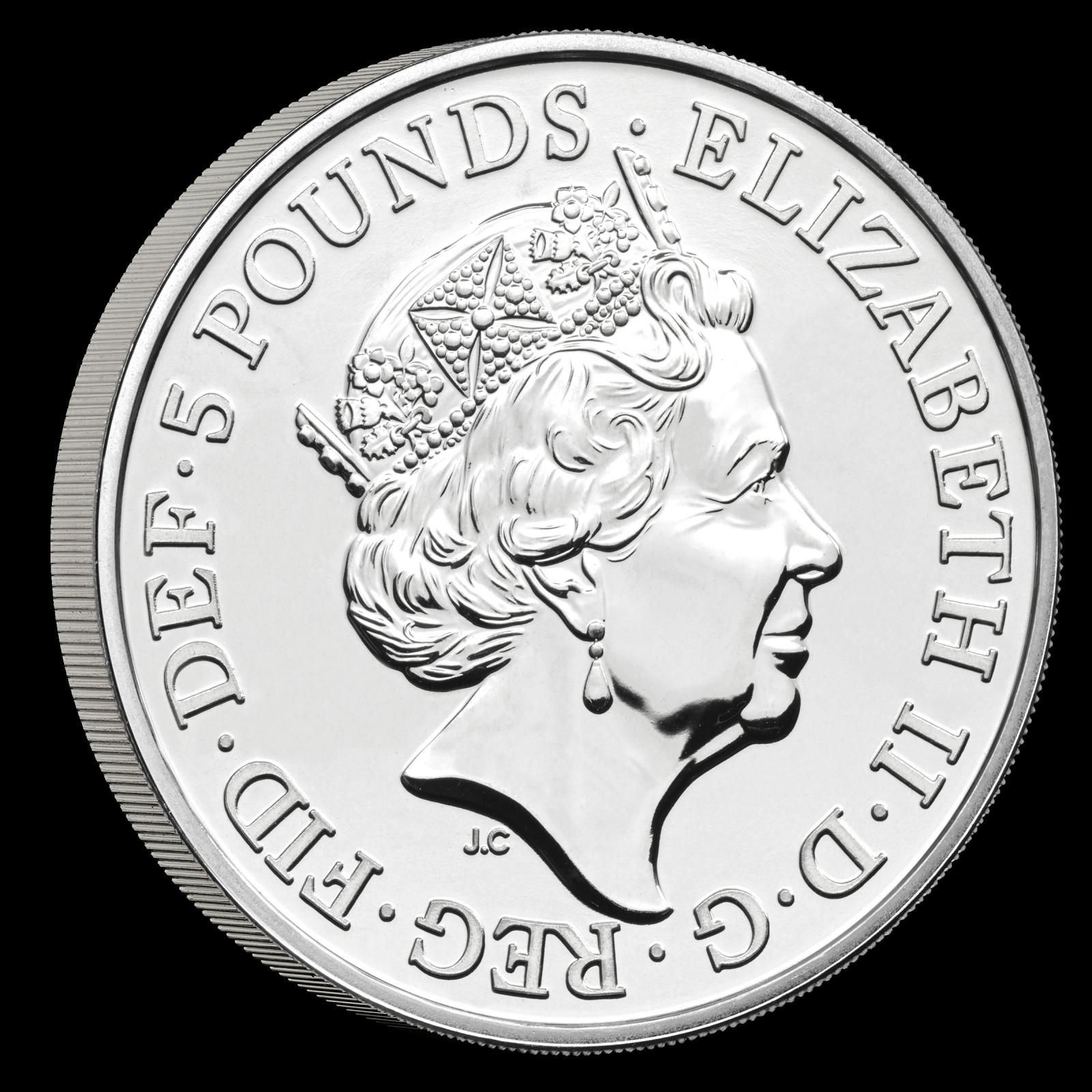 """Rückseite:Großbritannien : 5 Pfund """"Queens Beast Collection - Completer Coin""""  2021 Stgl."""