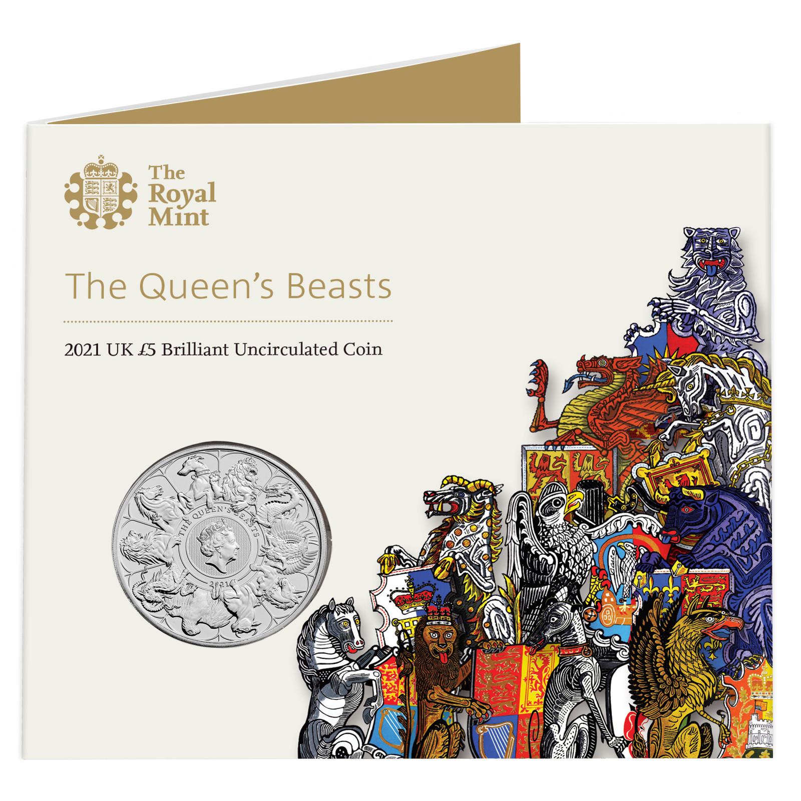 "Lieferumfang:Großbritannien : 5 Pfund ""Queens Beast Collection - Completer Coin""  2021 Stgl."