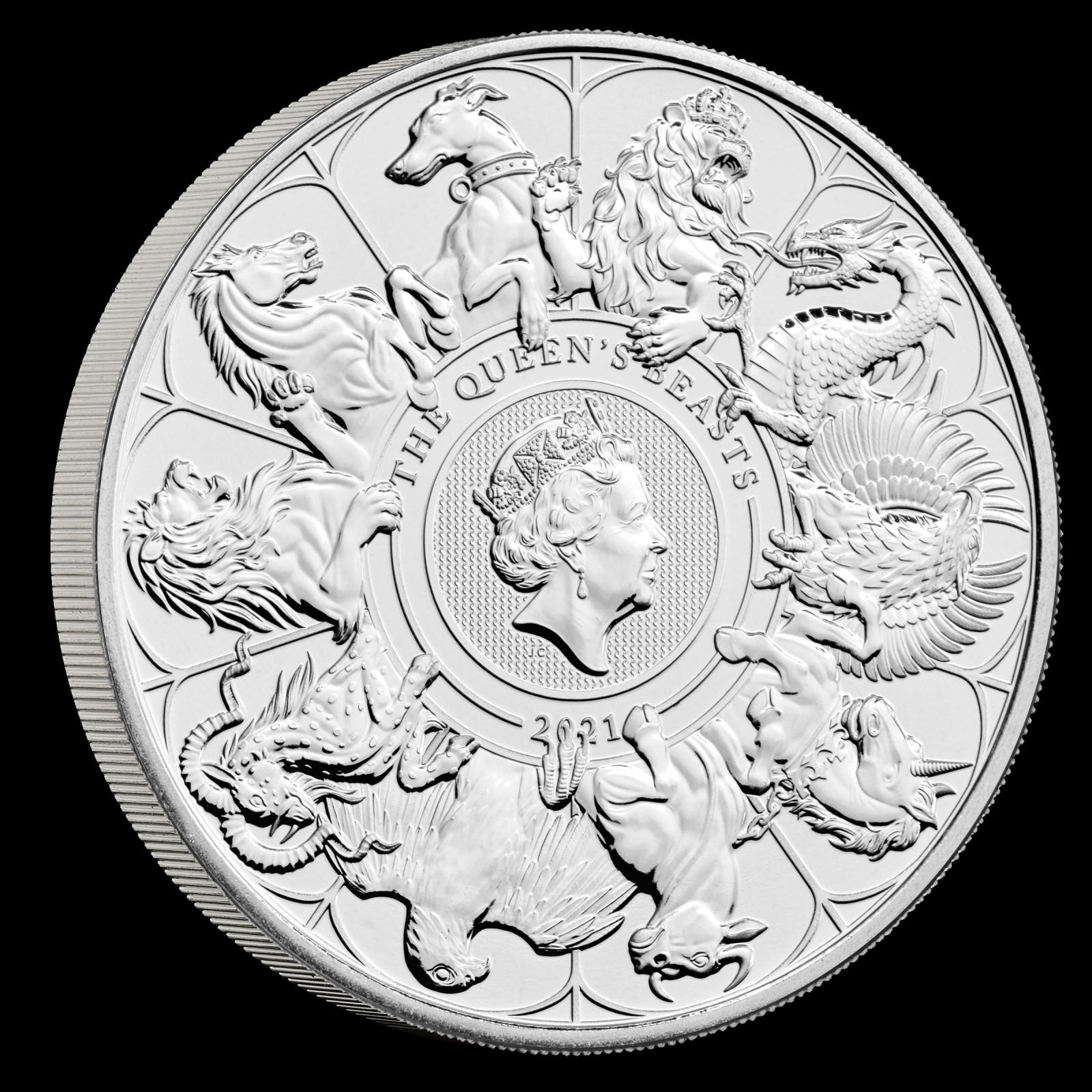 """Vorderseite:Großbritannien : 5 Pfund """"Queens Beast Collection - Completer Coin""""  2021 Stgl."""