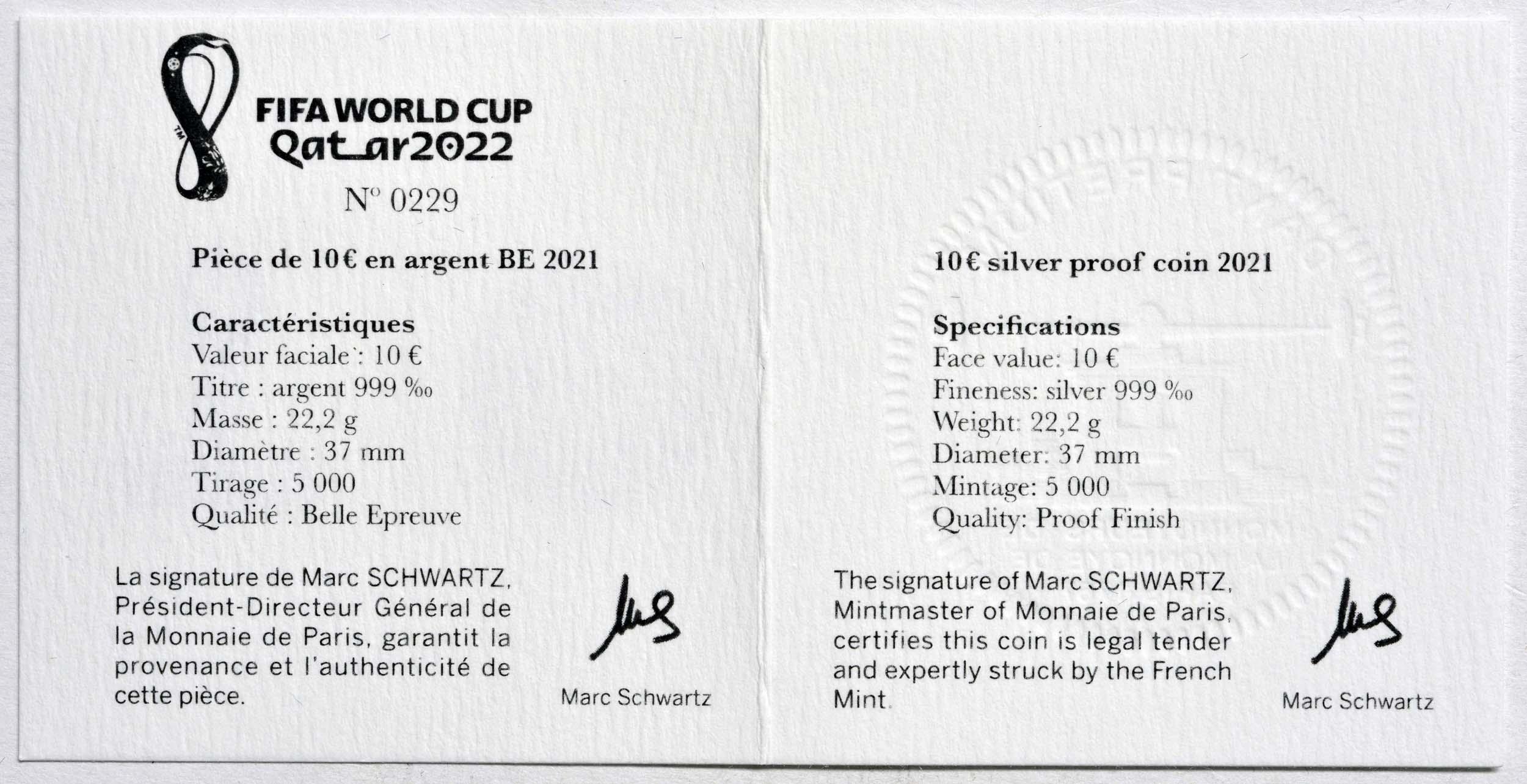 Zertifikat:Frankreich : 10 Euro Fussball-WM in Quatar 2022  2021 PP