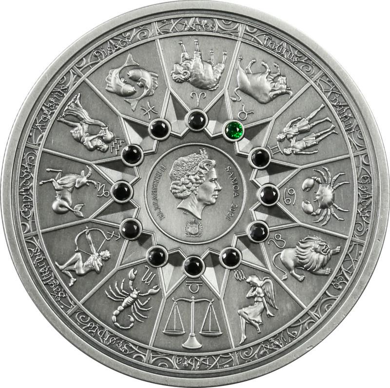 Vorderseite:Samoa : 5 Dollar Die zwölf Olympiers im Tierkreis - Aphrodite VS Stier  2021 Stgl.